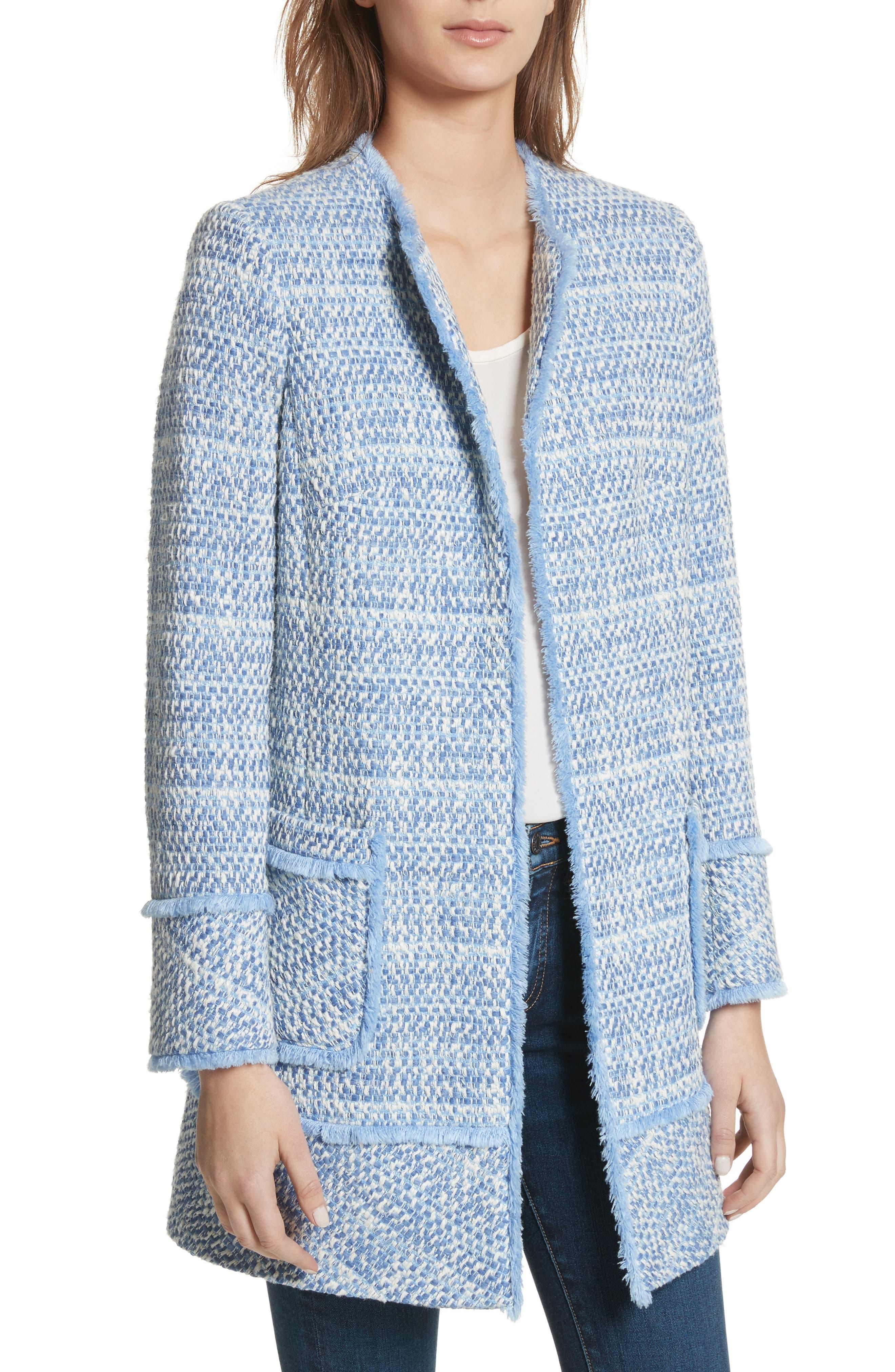 Long Tweed Jacket,                             Main thumbnail 1, color,                             Pale Blue