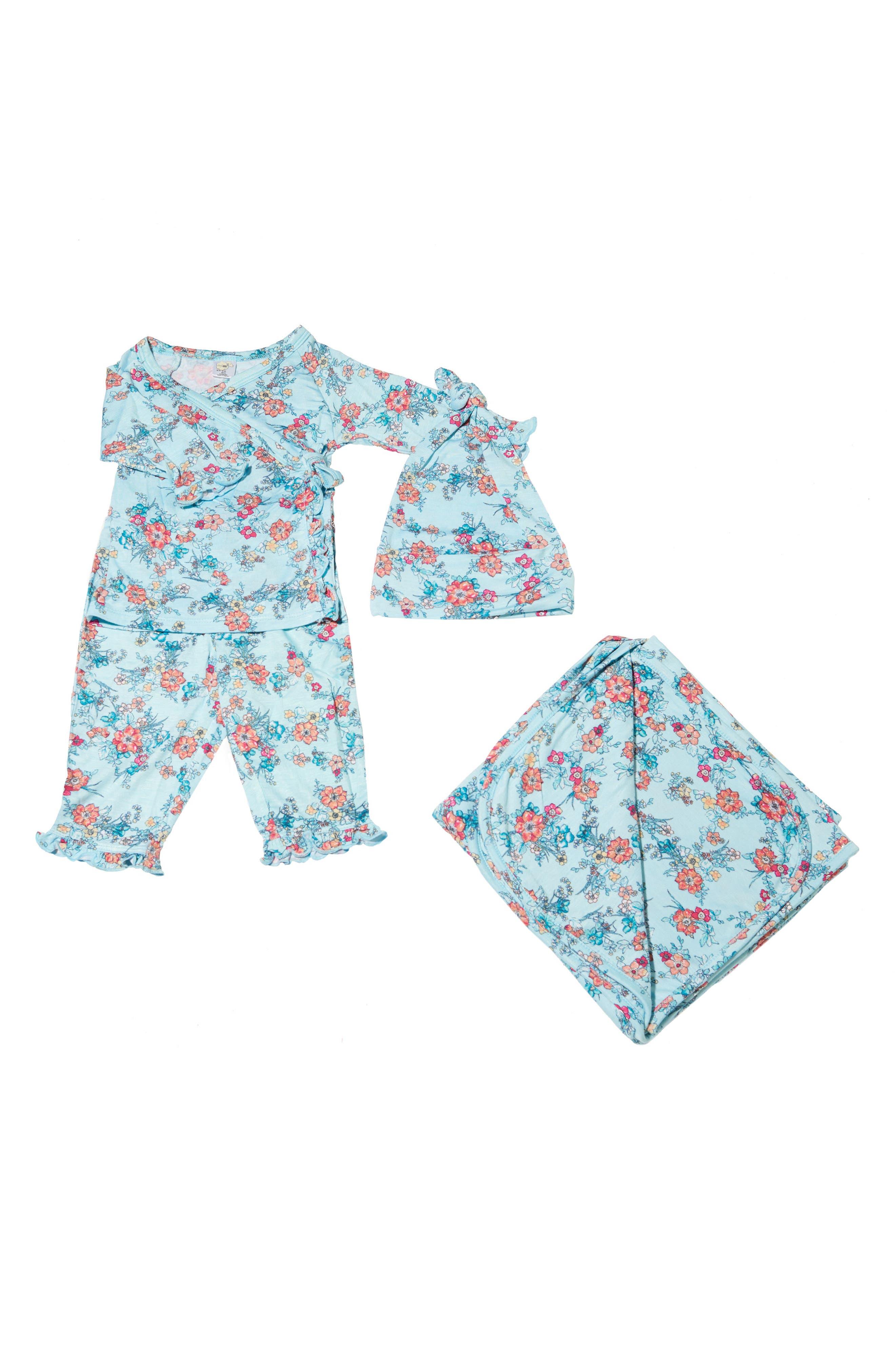 Alternate Image 1 Selected - Baby Grey Ruffle Kimono Top, Pants, Hat & Blanket Set (Baby Girls)