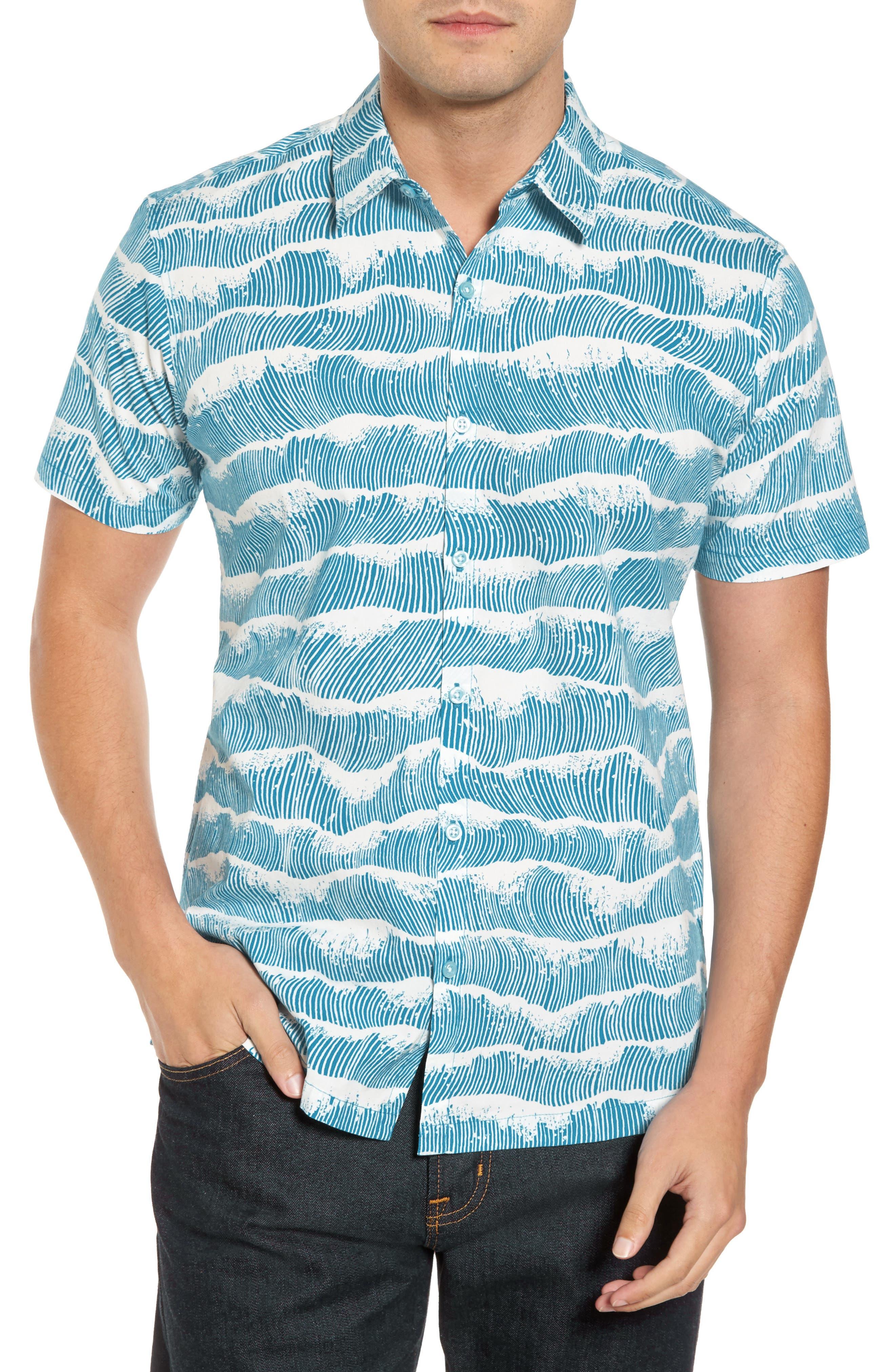 Crest Trim Fit Print Sport Shirt,                         Main,                         color, Pacific Blue