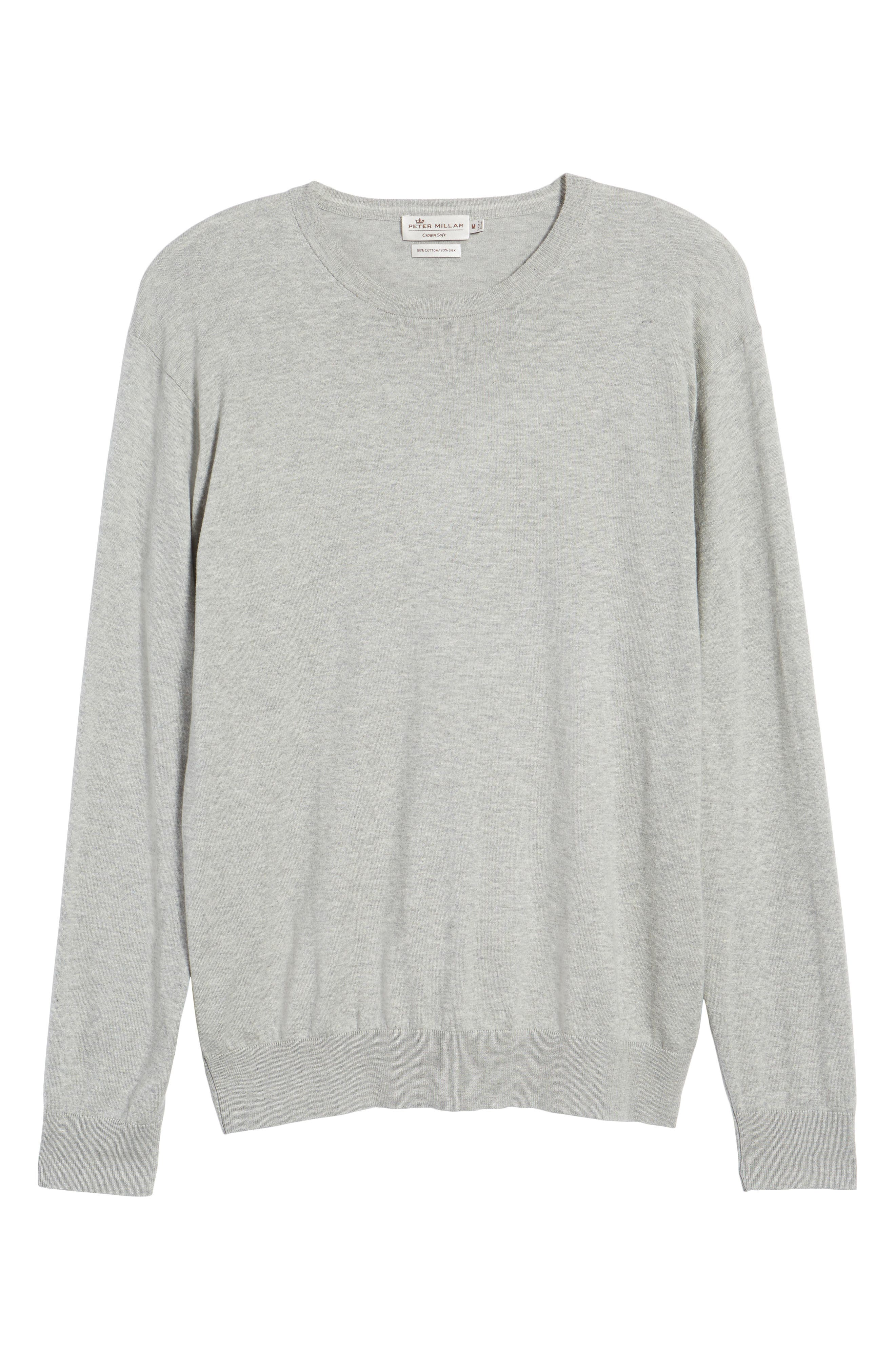 Crown Soft Cotton & Silk Sweater,                             Alternate thumbnail 6, color,                             Grey Sound