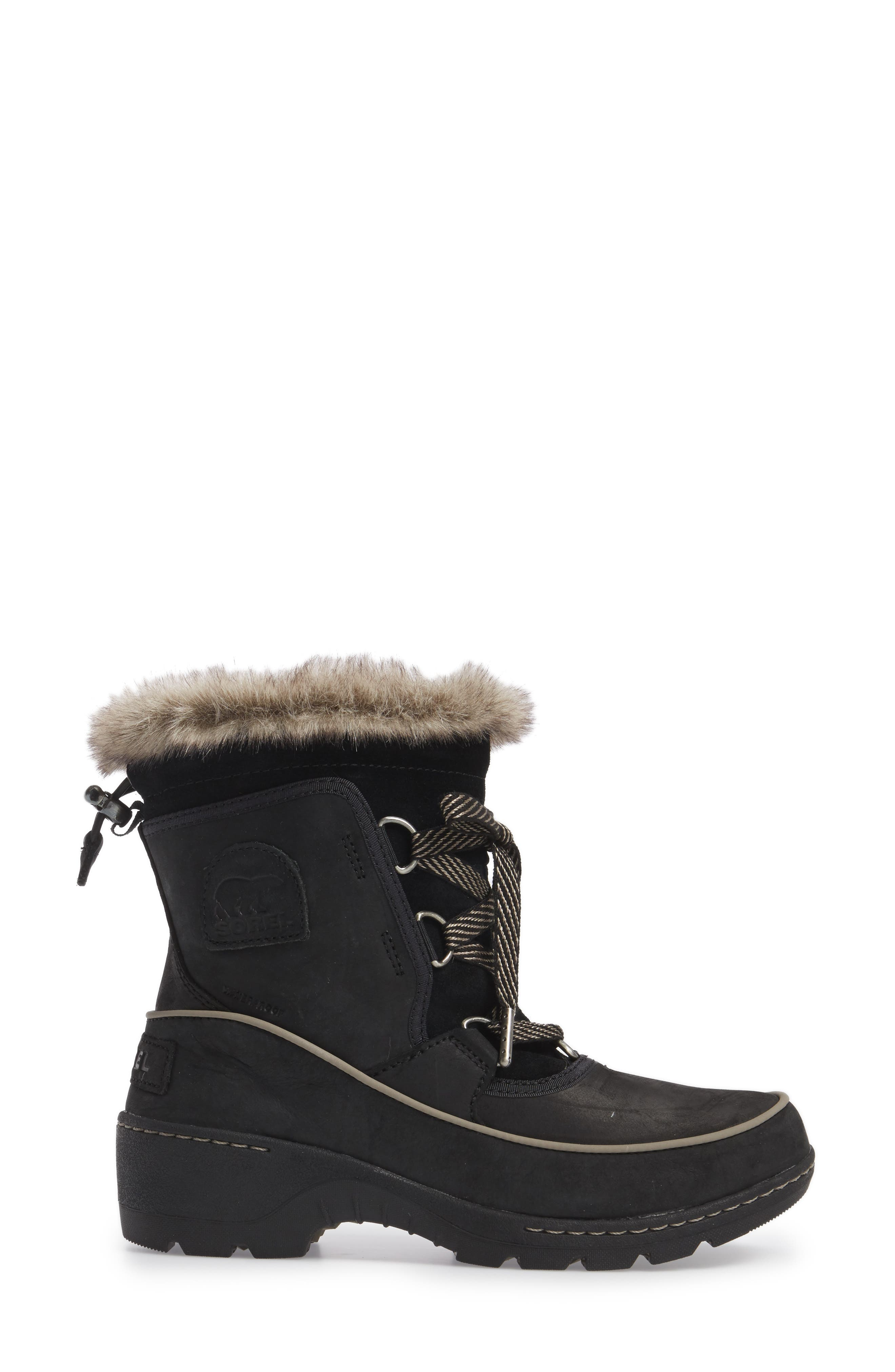 Tivoli II Insulated Winter Boot with Faux Fur Trim,                             Alternate thumbnail 3, color,                             Black/ Kettle