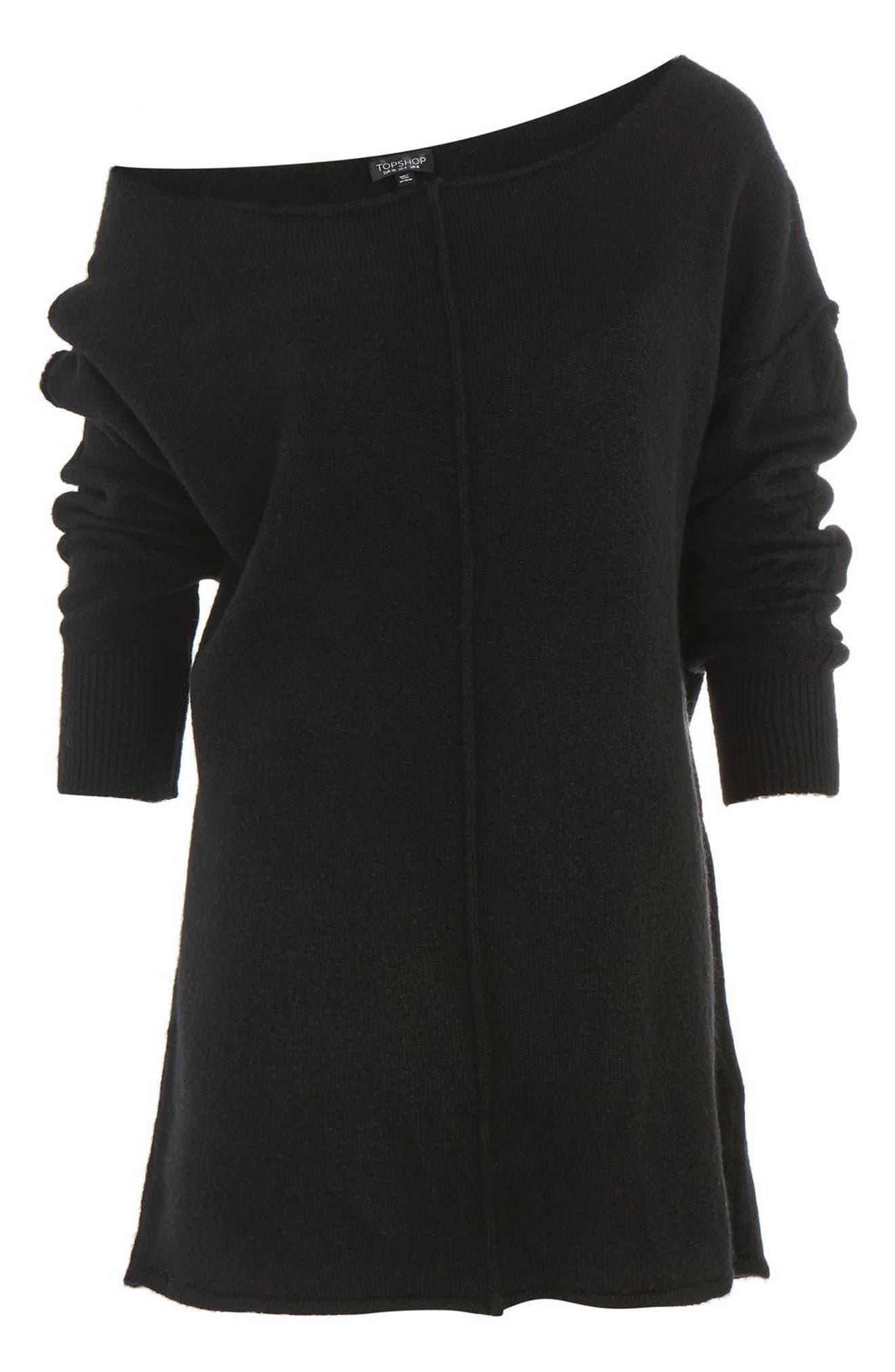 Exposed Seam Sweater,                             Alternate thumbnail 4, color,                             Black