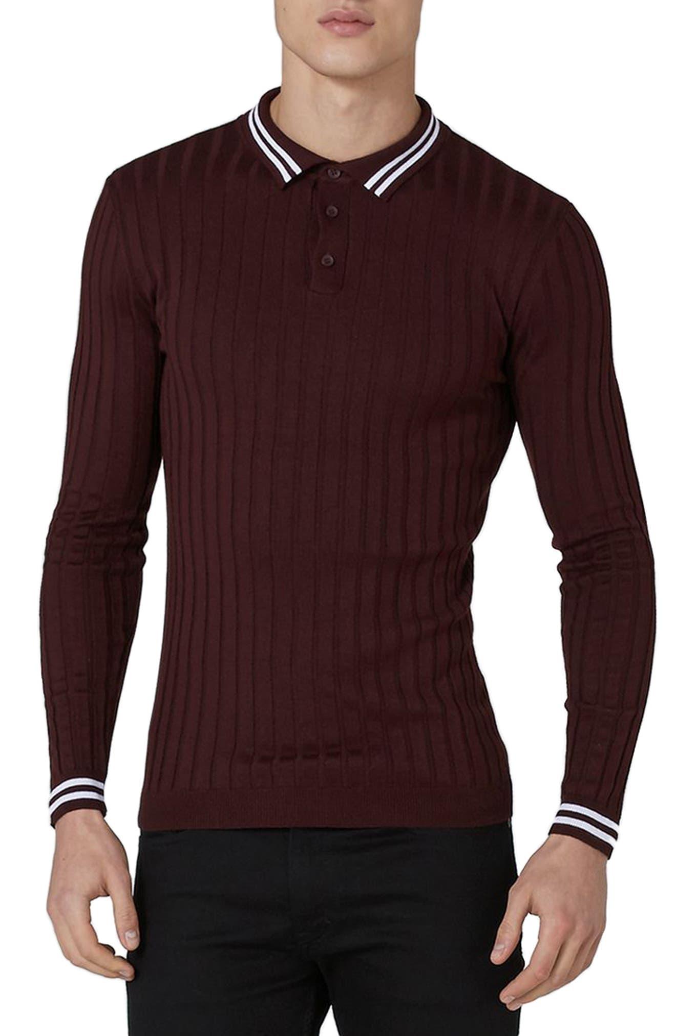 Alternate Image 1 Selected - Topman Slim Fit Rib Knit Polo