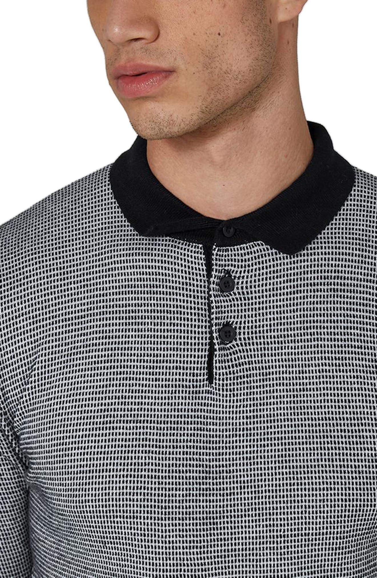 Long Sleeve Texture Polo,                             Alternate thumbnail 3, color,                             Black Multi