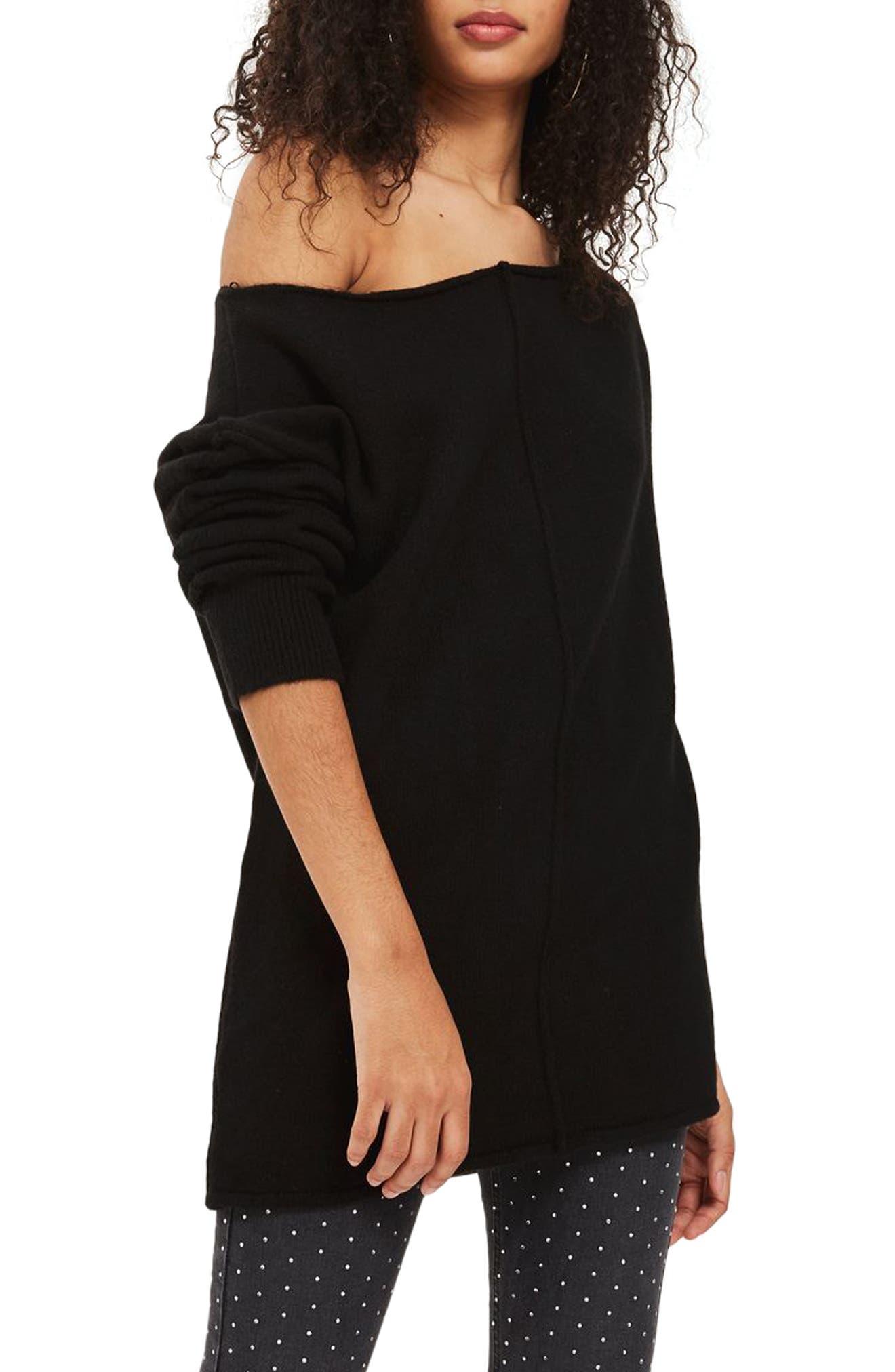 Exposed Seam Sweater,                         Main,                         color, Black