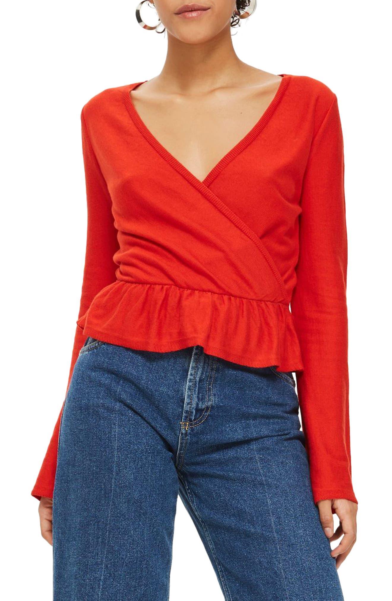 Peplum Wrap Sweater,                         Main,                         color, Red