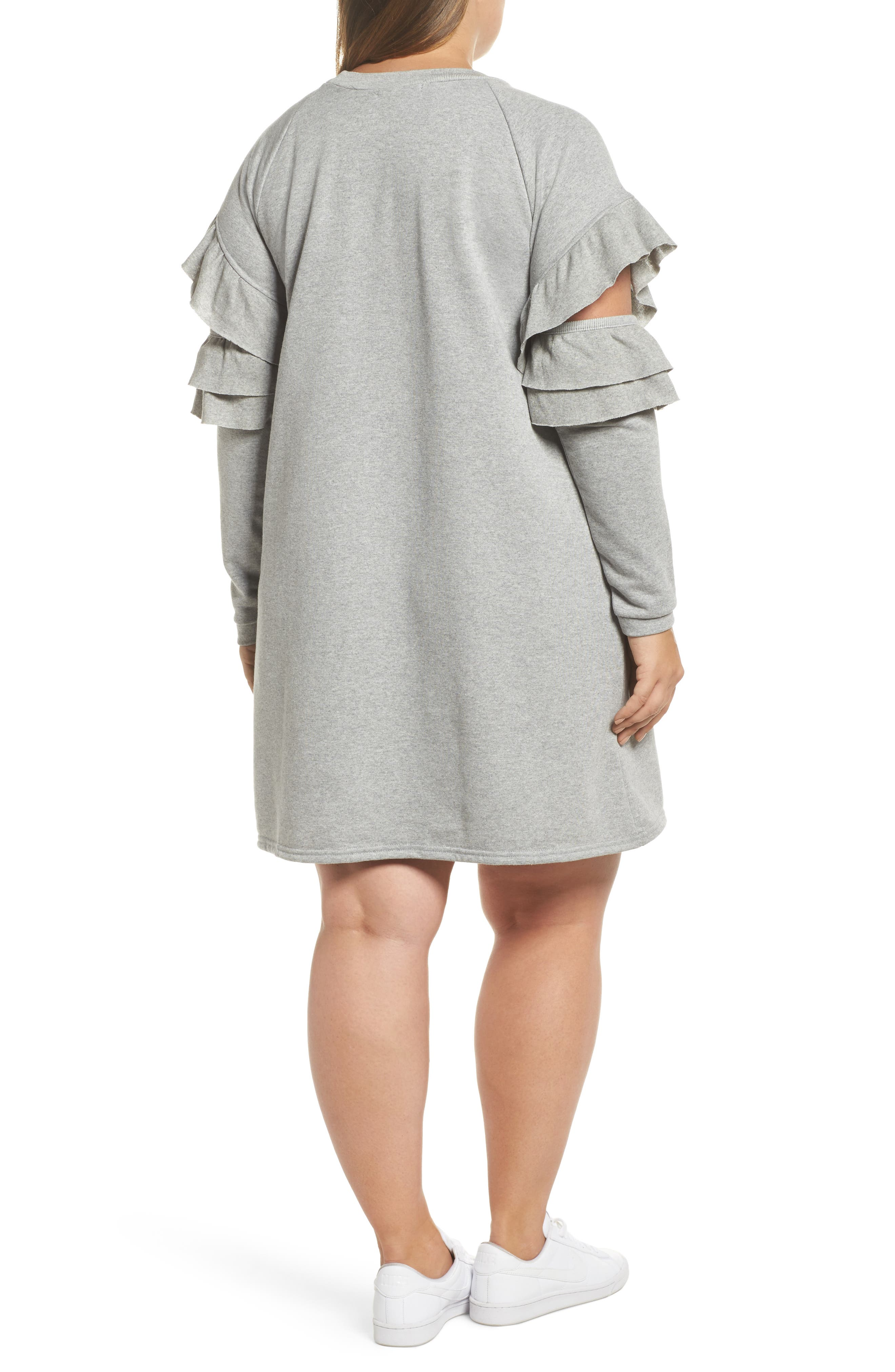 Ruffle Sleeve French Terry Dress,                             Alternate thumbnail 2, color,                             Light Grey
