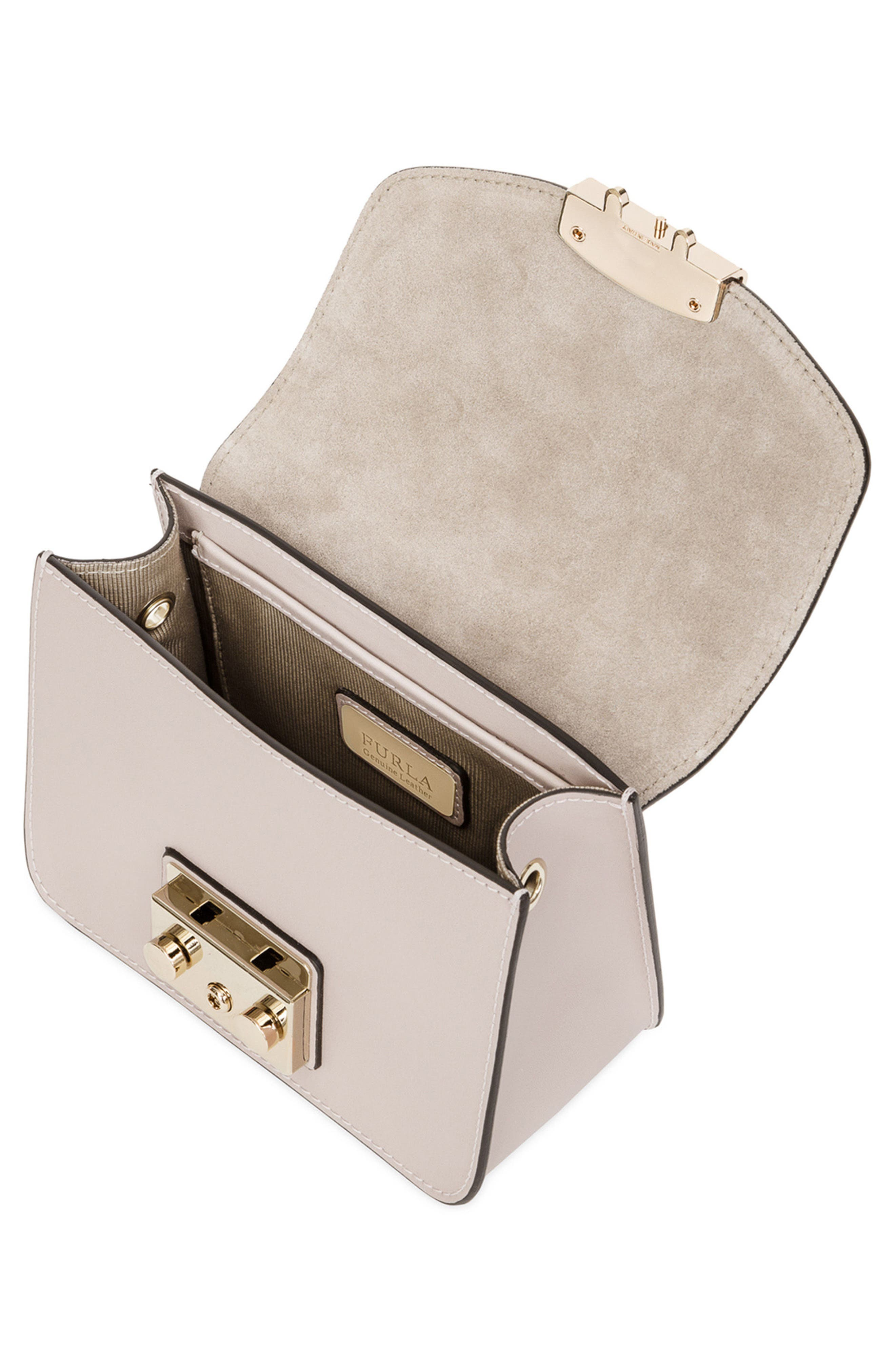 Mini Metropolis Leather Crossbody Bag,                             Alternate thumbnail 3, color,                             Vaniglia