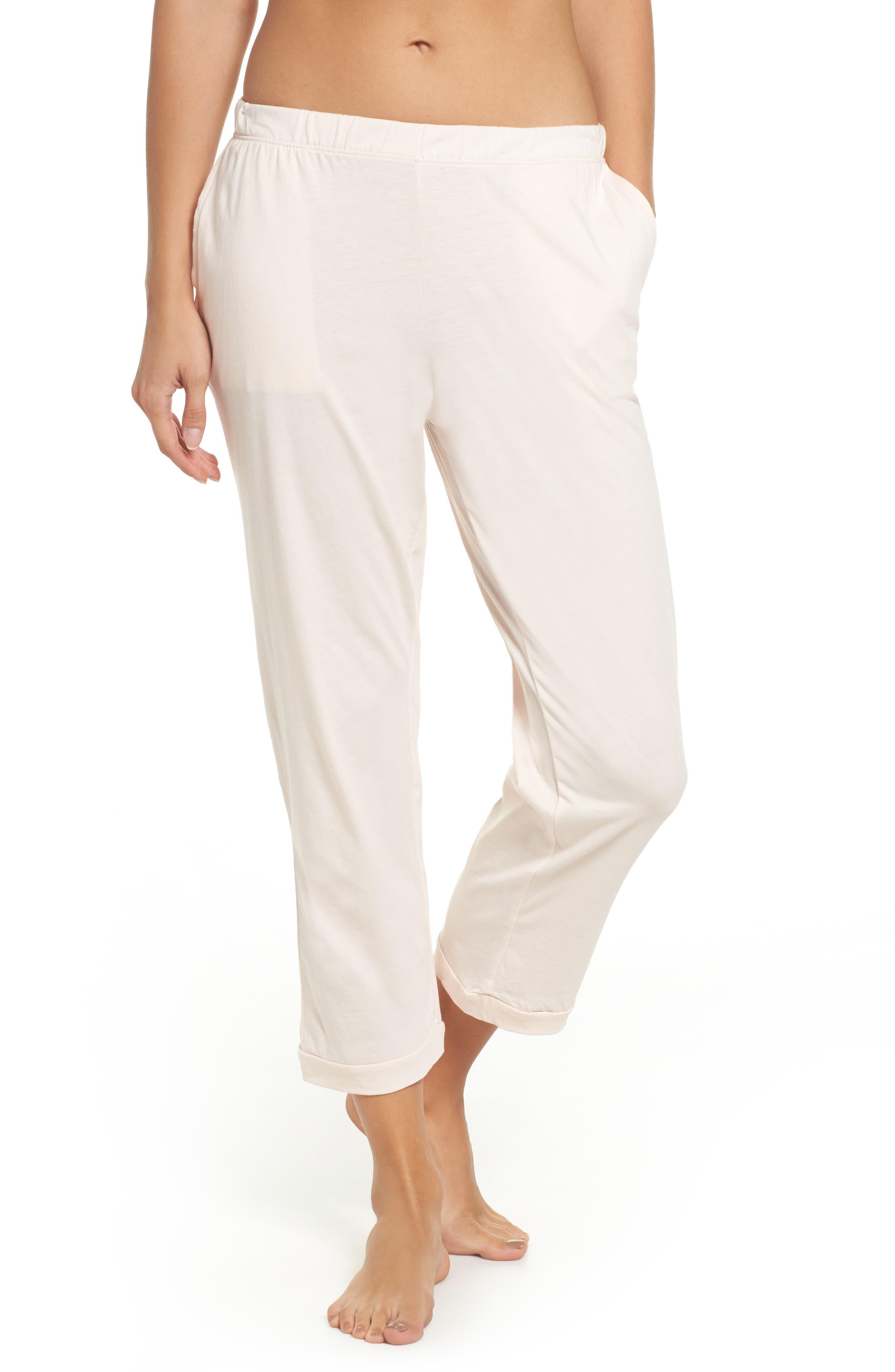 Parisa Crop Pima Cotton Lounge Pants,                         Main,                         color, Pearl Pink