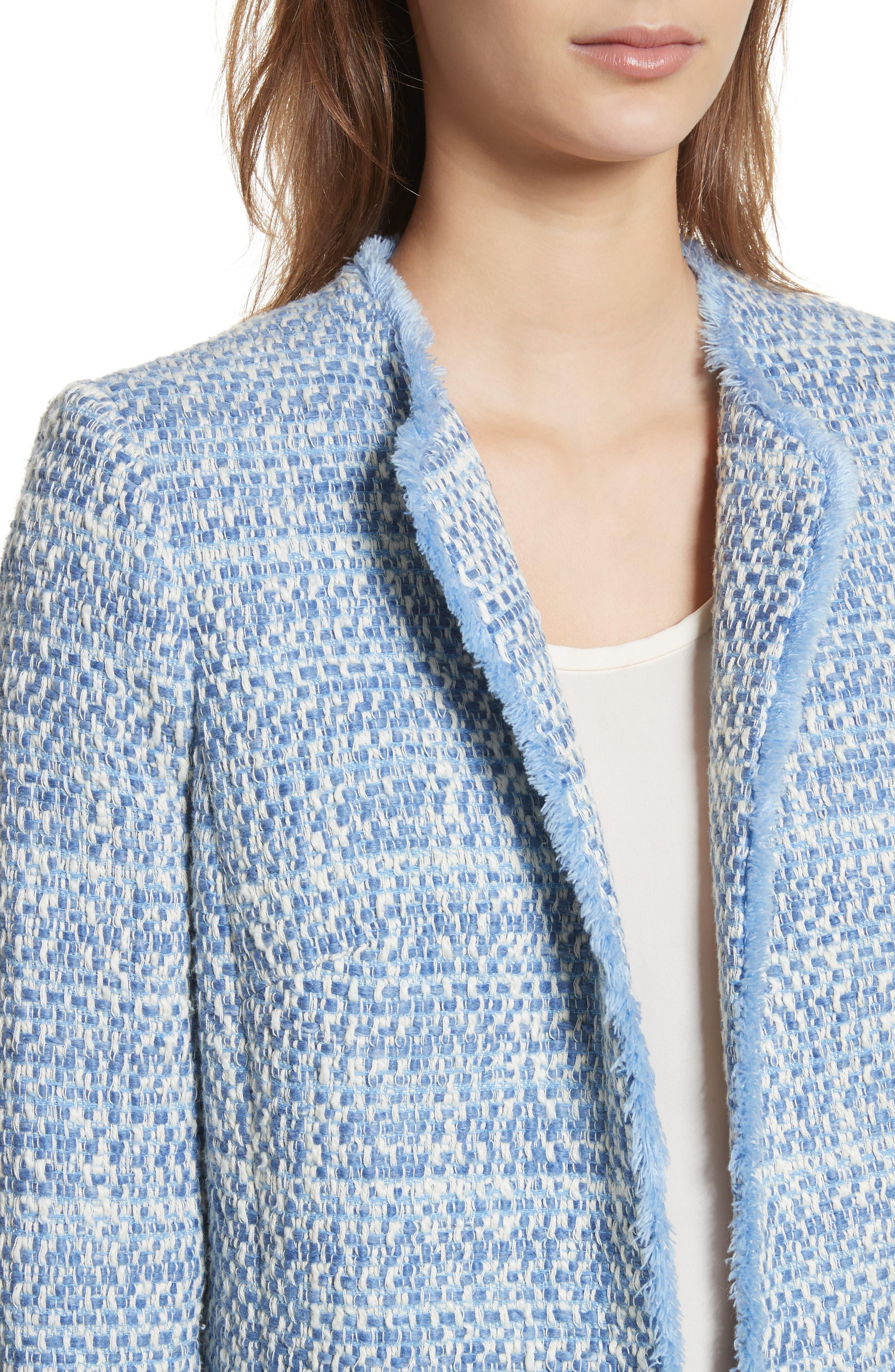 Long Tweed Jacket,                             Alternate thumbnail 4, color,                             Pale Blue