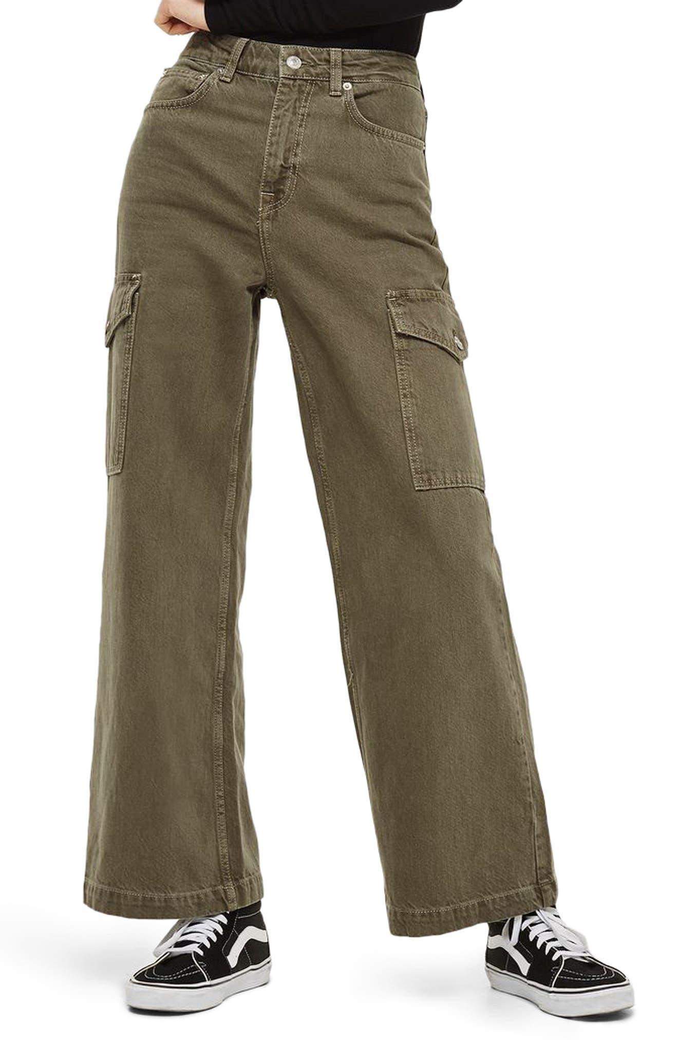 Wide Leg Crop Cargo Jeans,                         Main,                         color, Olive