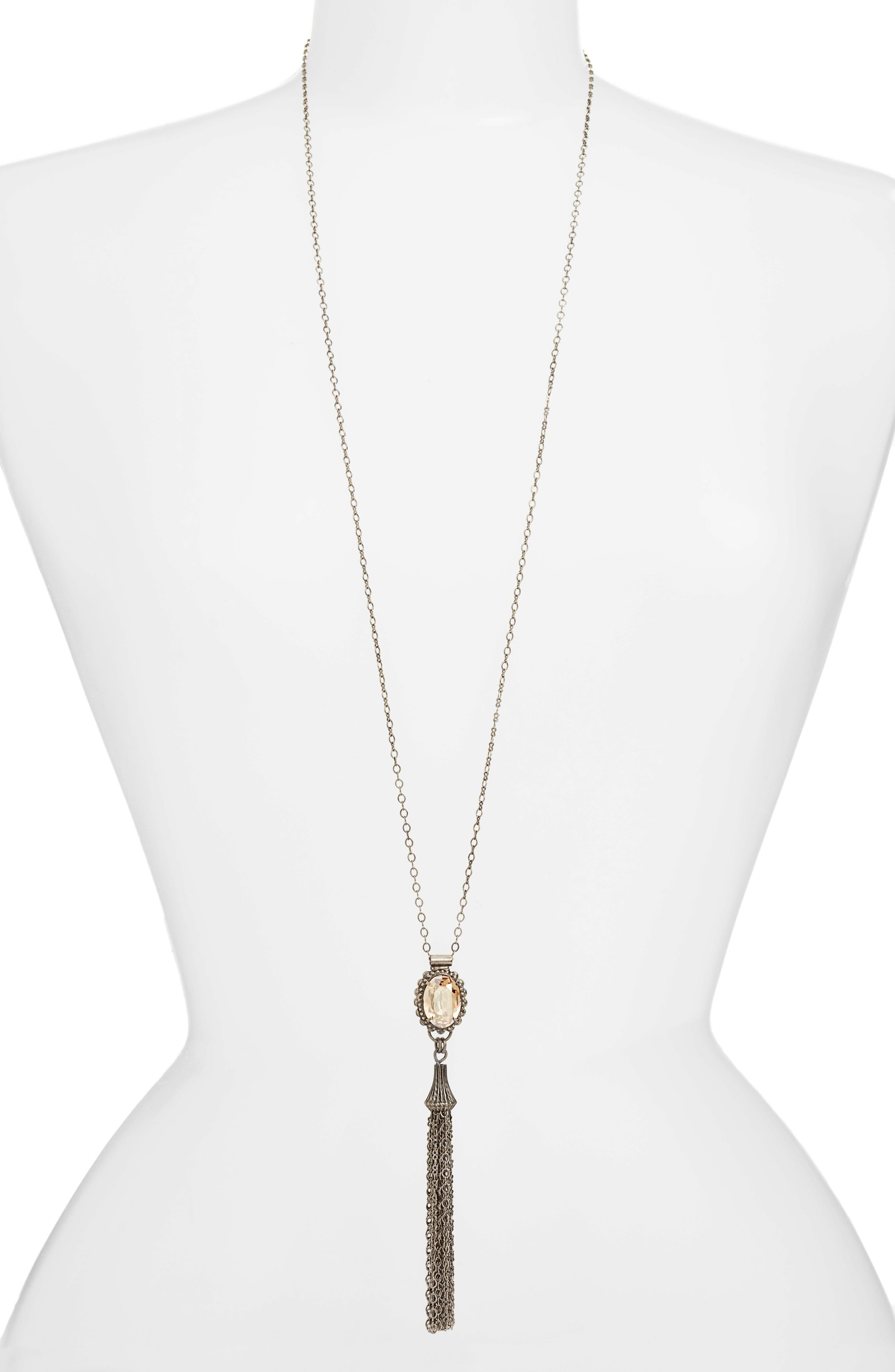 Camellia Tassel Pendant Necklace,                         Main,                         color, Tan