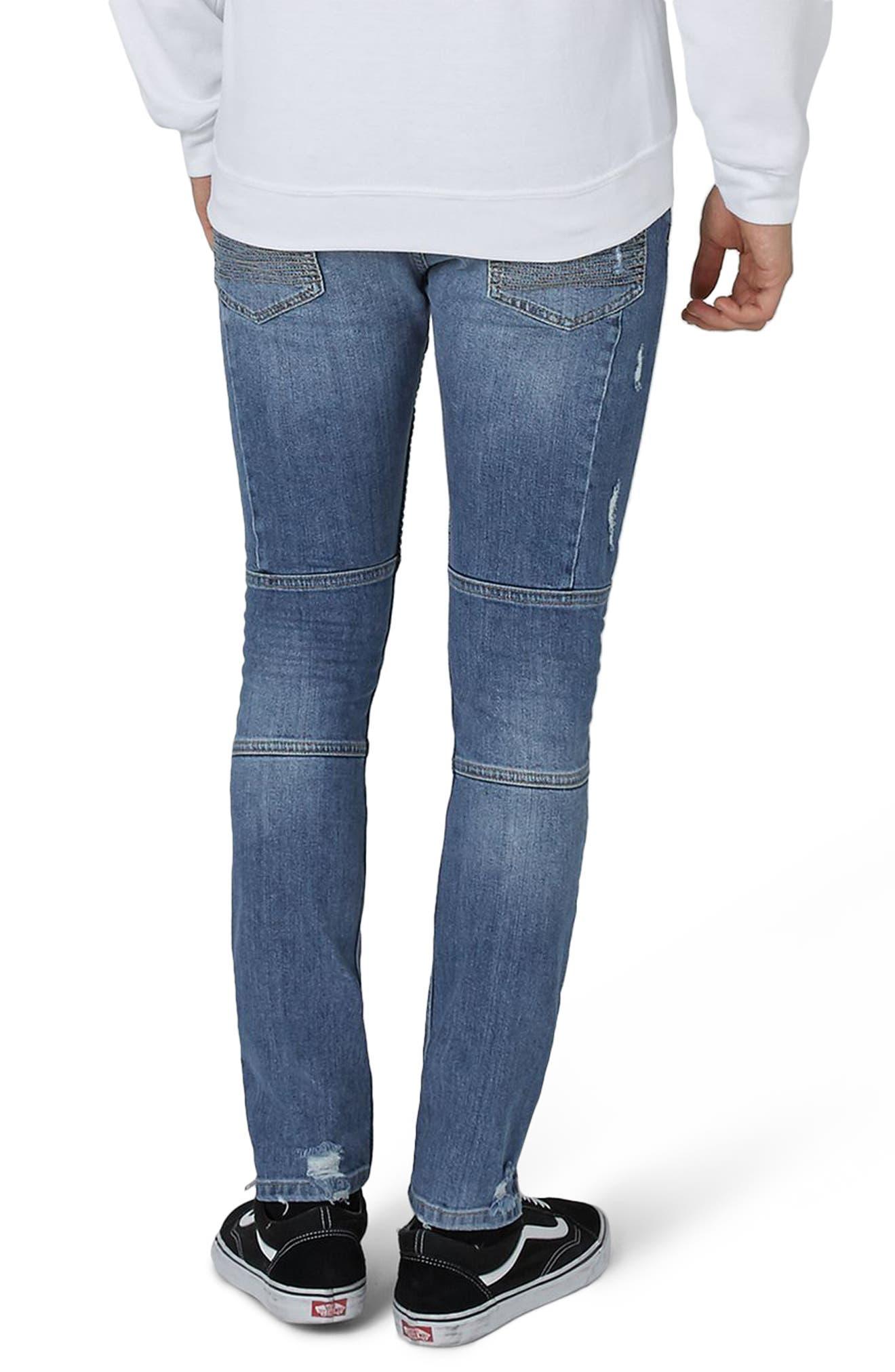 Alternate Image 2  - Topman Ripped Zip Skinny Biker Jeans