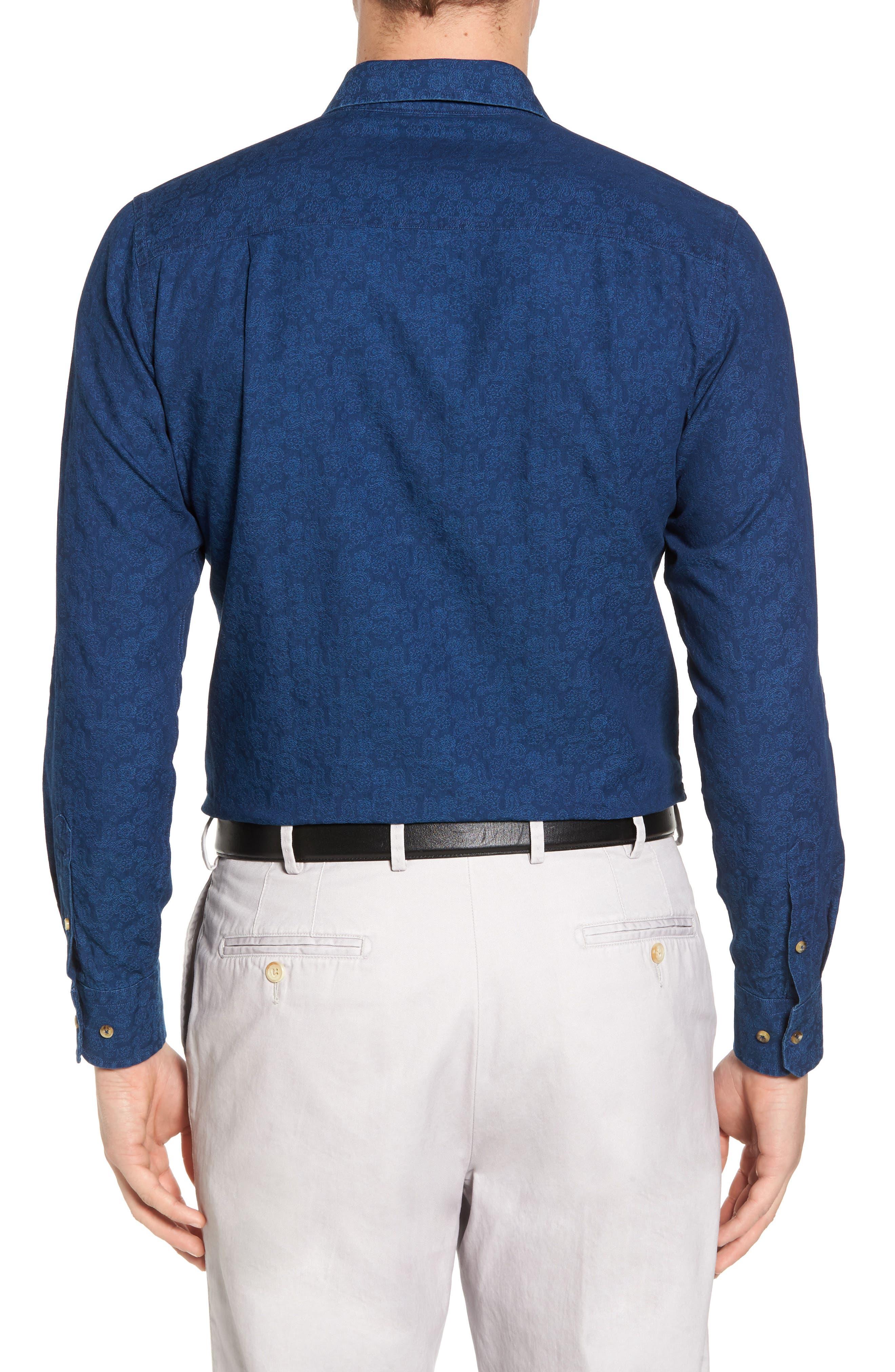 Paisley Sport Shirt,                             Alternate thumbnail 2, color,                             Navy