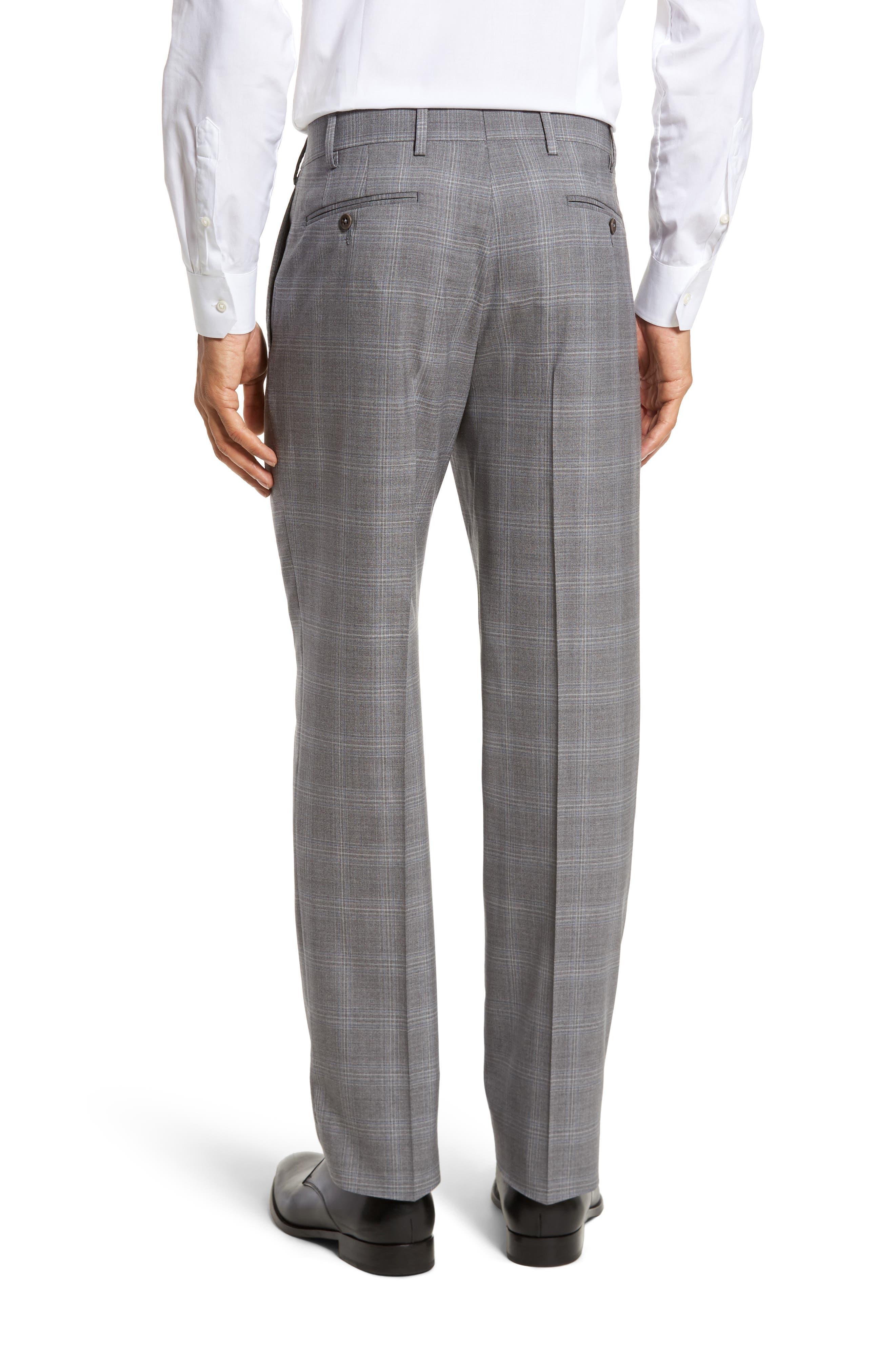 Devon Flat Front Plaid Wool Trousers,                             Alternate thumbnail 2, color,                             Light Grey