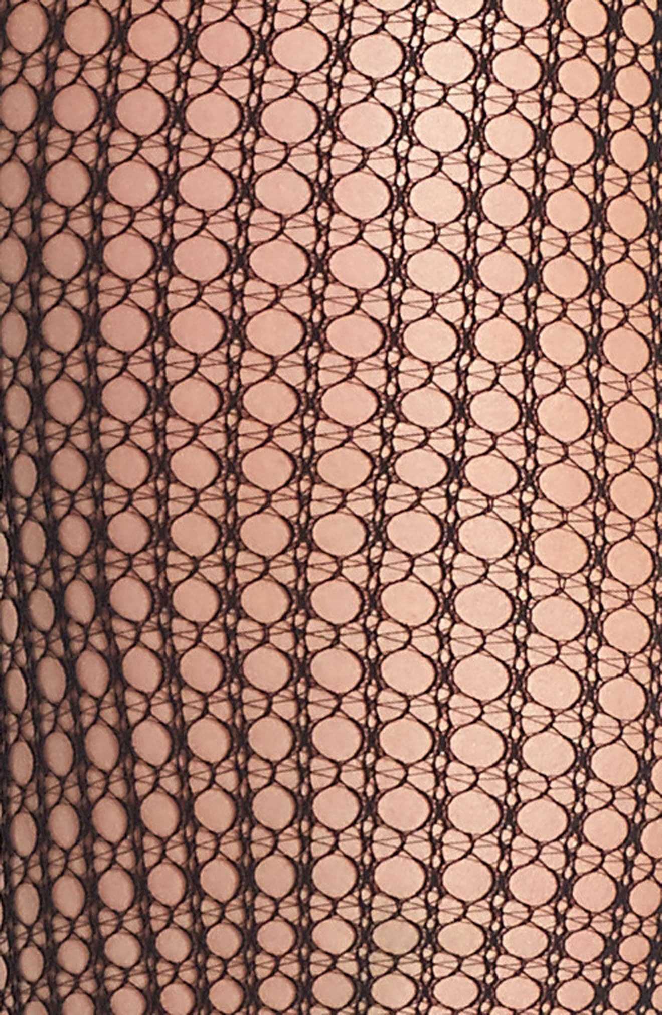 Mini Geometric Net Tights,                             Alternate thumbnail 2, color,                             Black