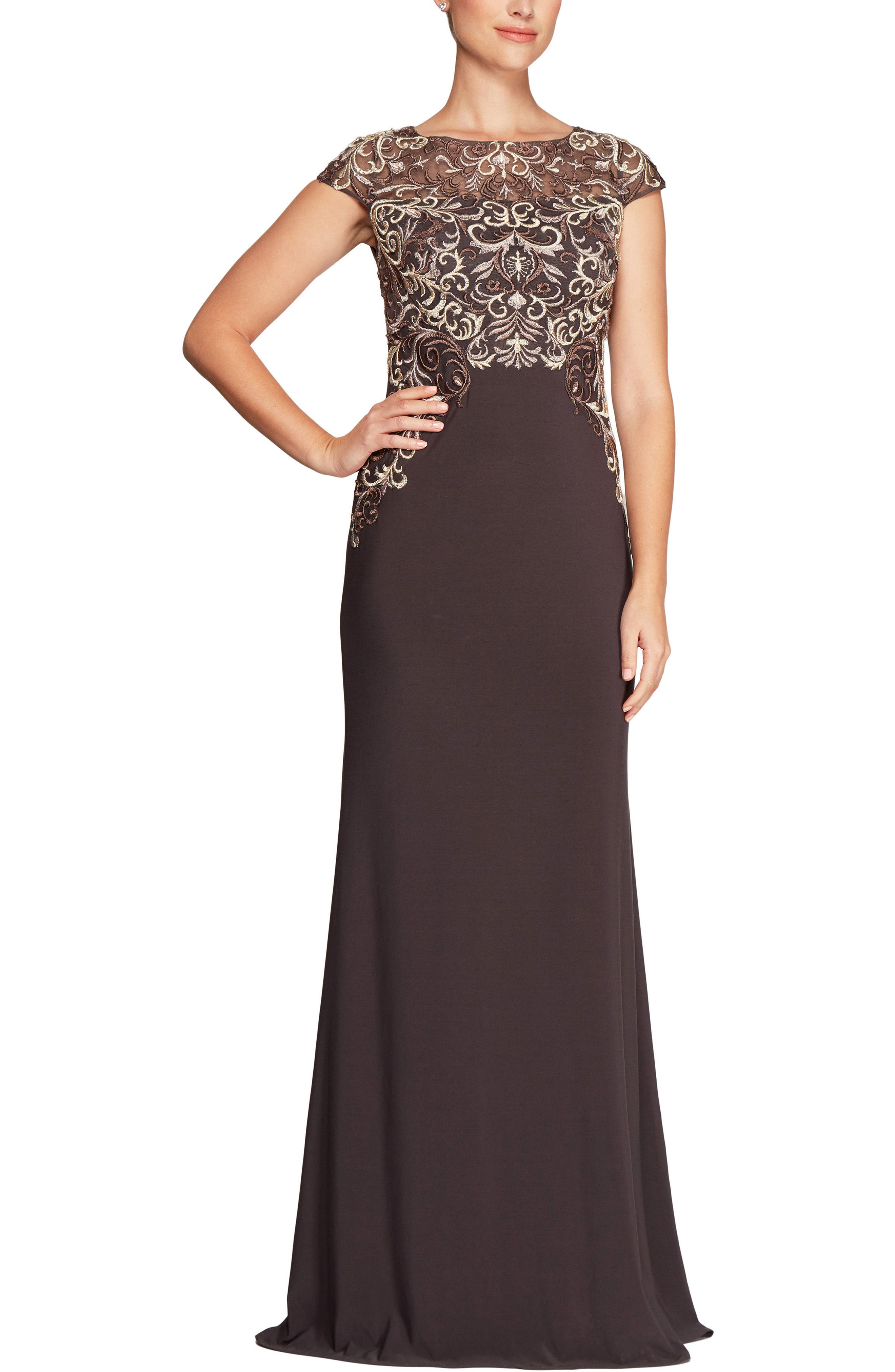 Embroidered Column Gown,                         Main,                         color, Mocha/ Multi
