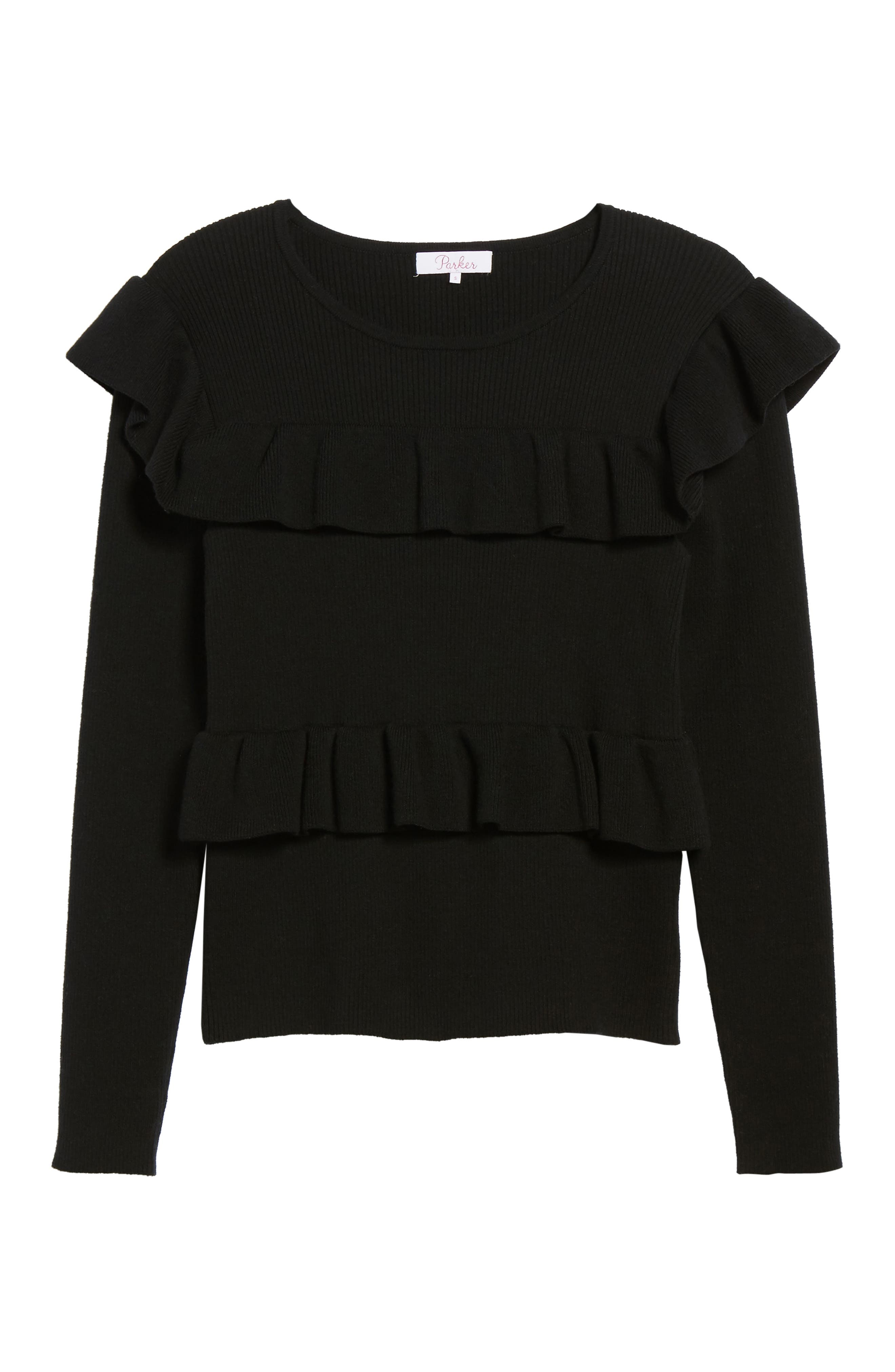 Bailey Ruffle Sweater,                             Alternate thumbnail 6, color,                             Black
