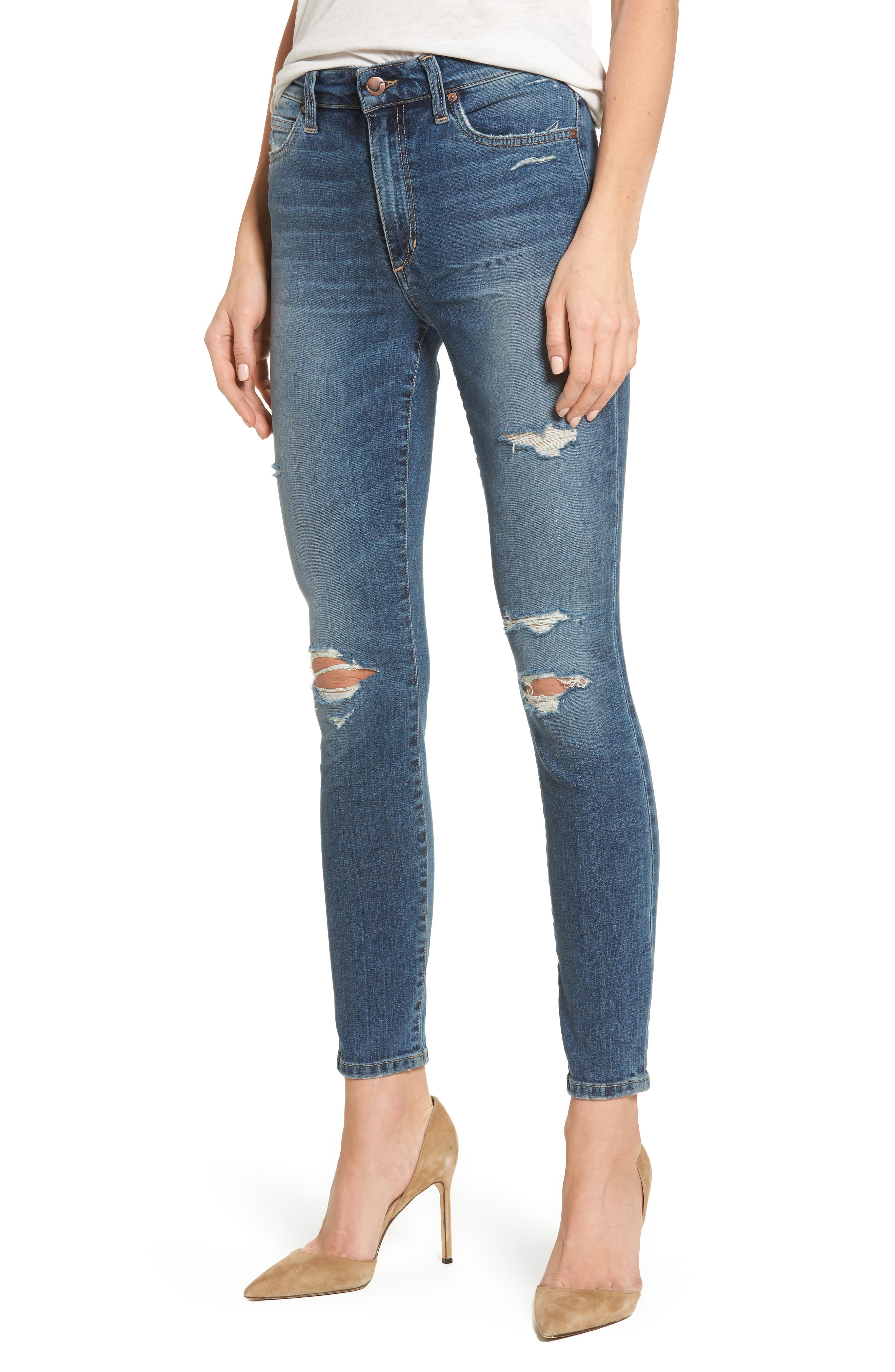 Charlie High Waist Ankle Skinny Jeans,                         Main,                         color, Kandie