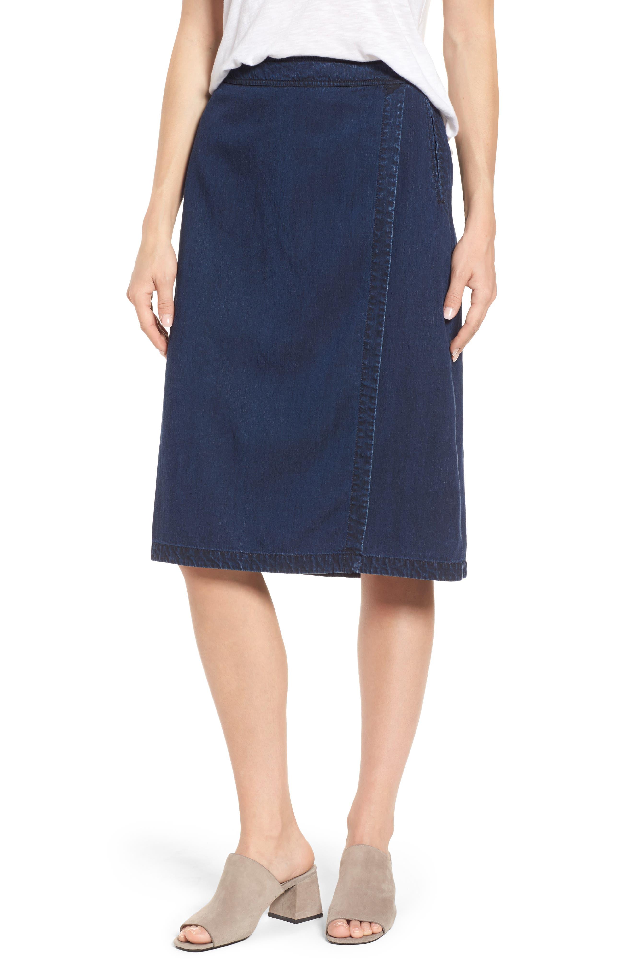 Faux Wrap Denim Skirt,                         Main,                         color, Midnight