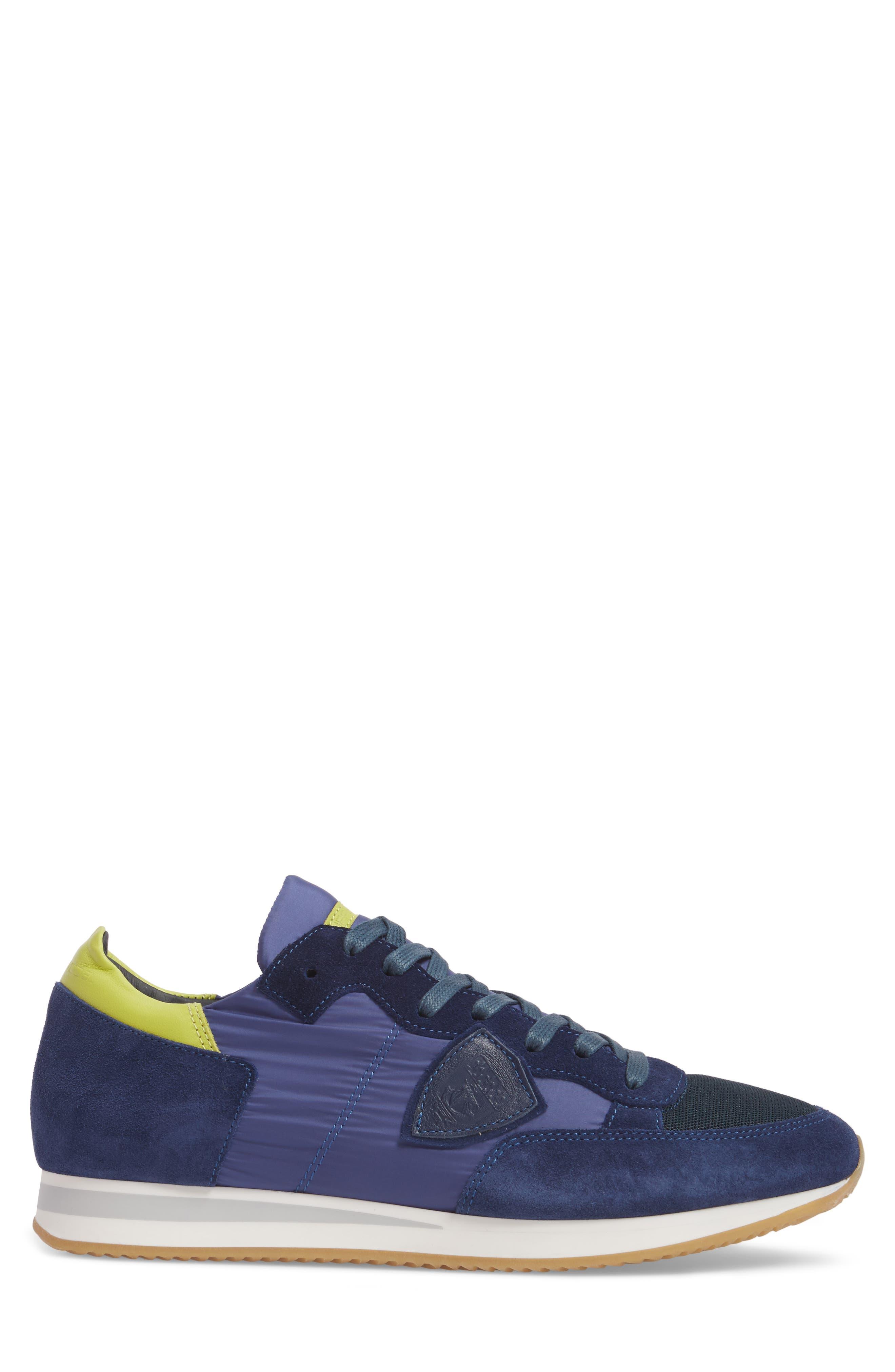 Tropez Low Top Sneaker,                             Alternate thumbnail 3, color,                             Blue/ Citron