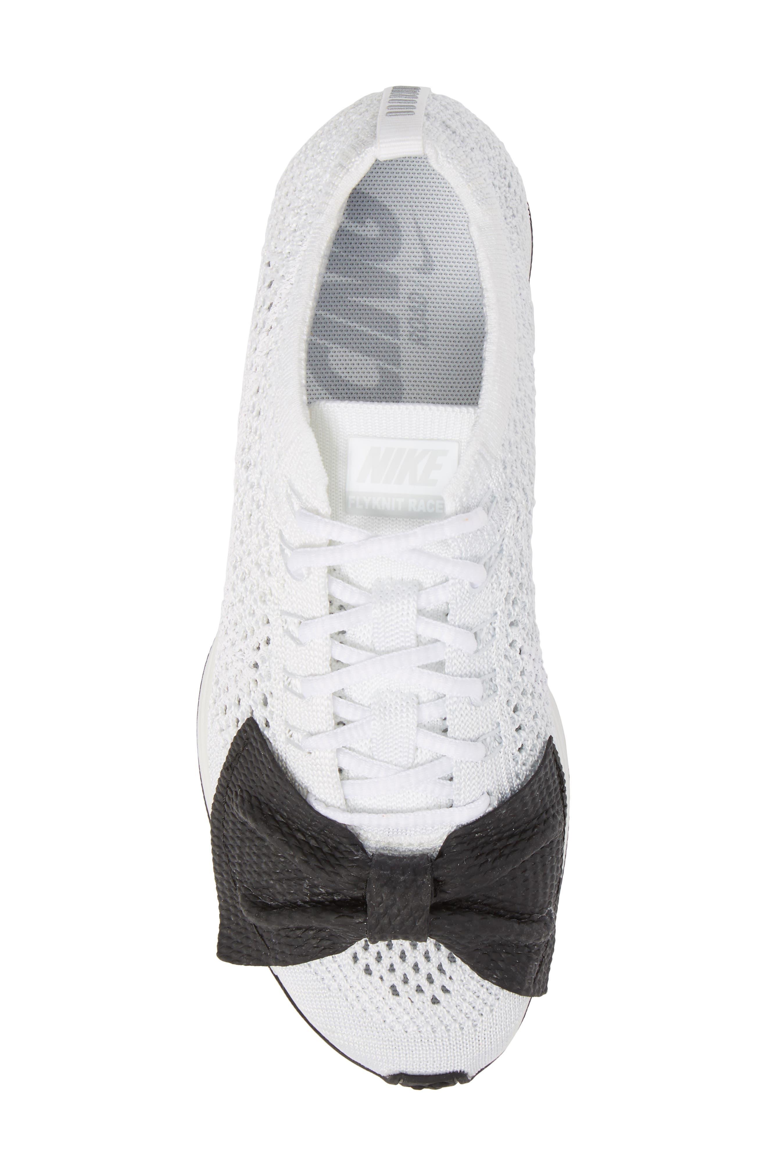 x Nike Bow Flyknit Racer Sneaker,                             Alternate thumbnail 5, color,                             White