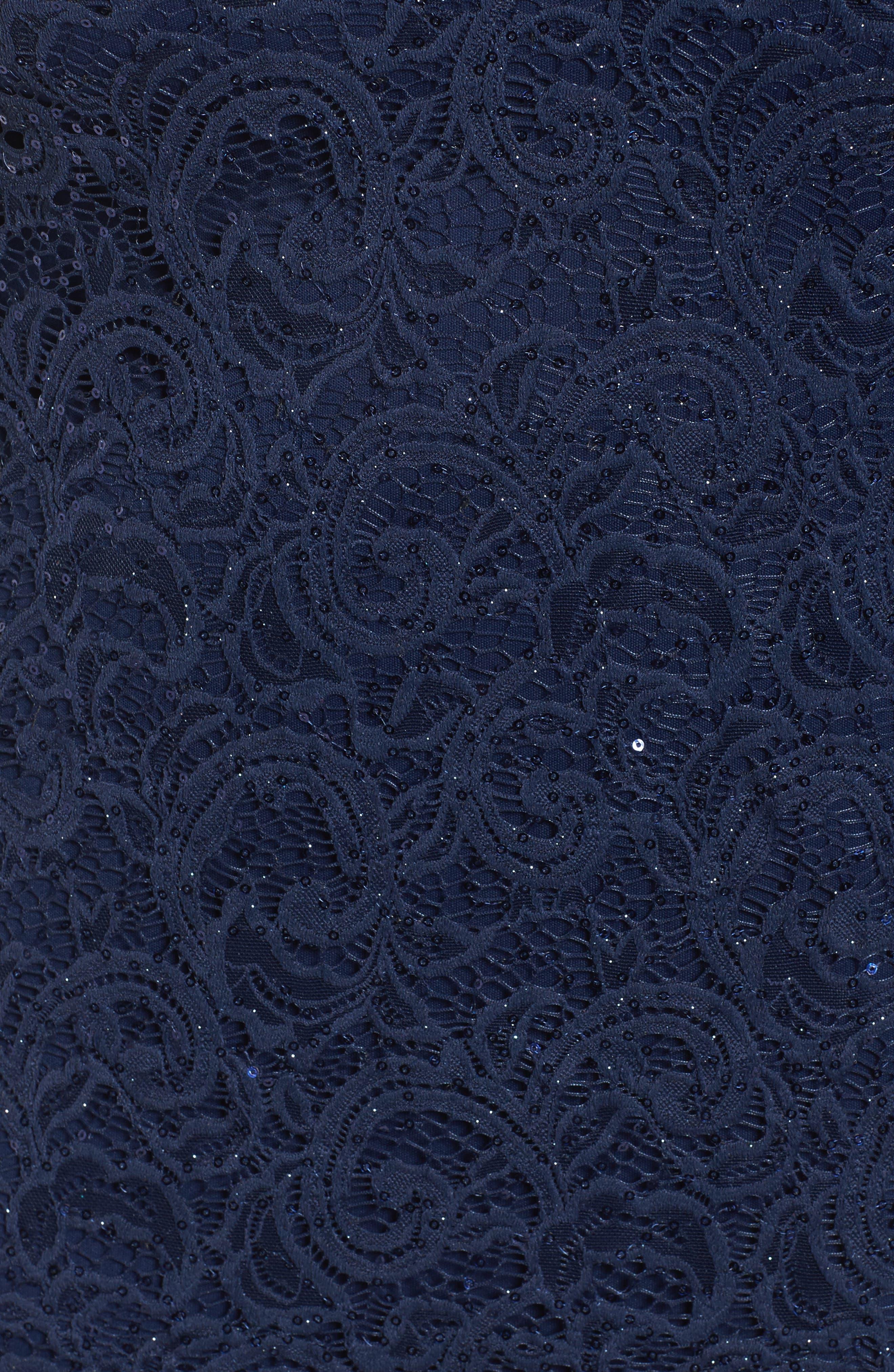 Sequin Keyhole Sheath Dress,                             Alternate thumbnail 5, color,                             Navy