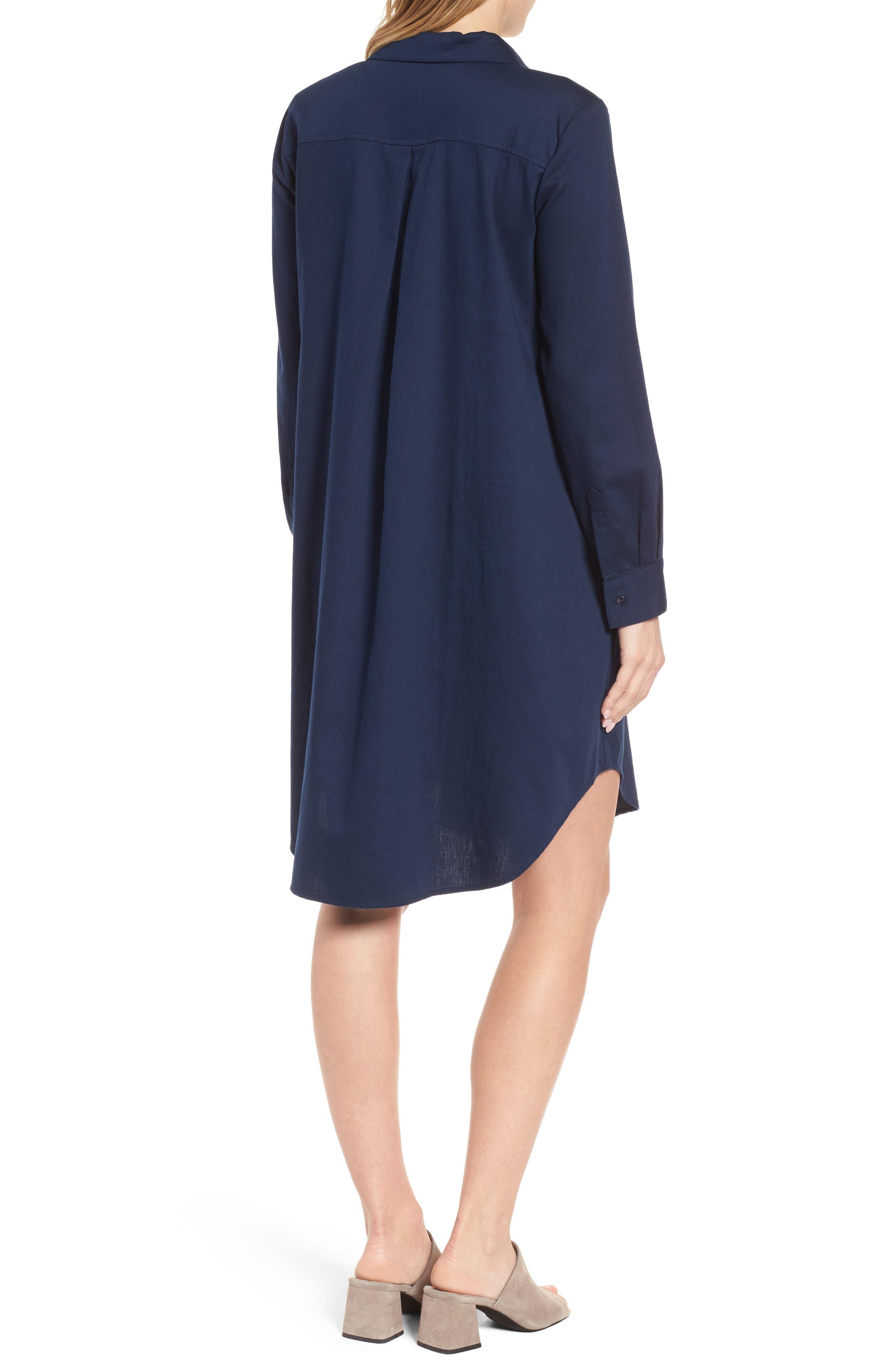 Cotton Twill Shirtdress,                             Alternate thumbnail 2, color,                             Midnight
