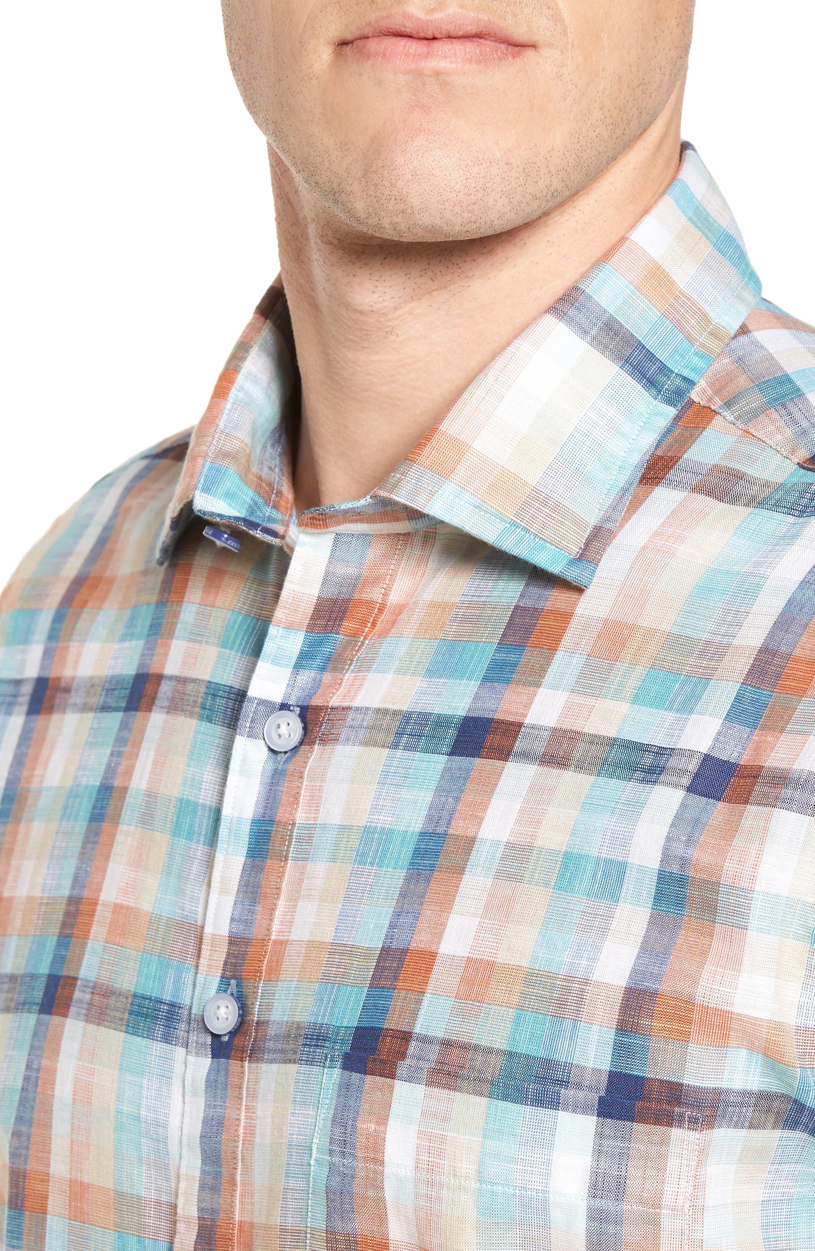 Blackburn Plaid Sport Shirt,                             Alternate thumbnail 4, color,                             Ochre