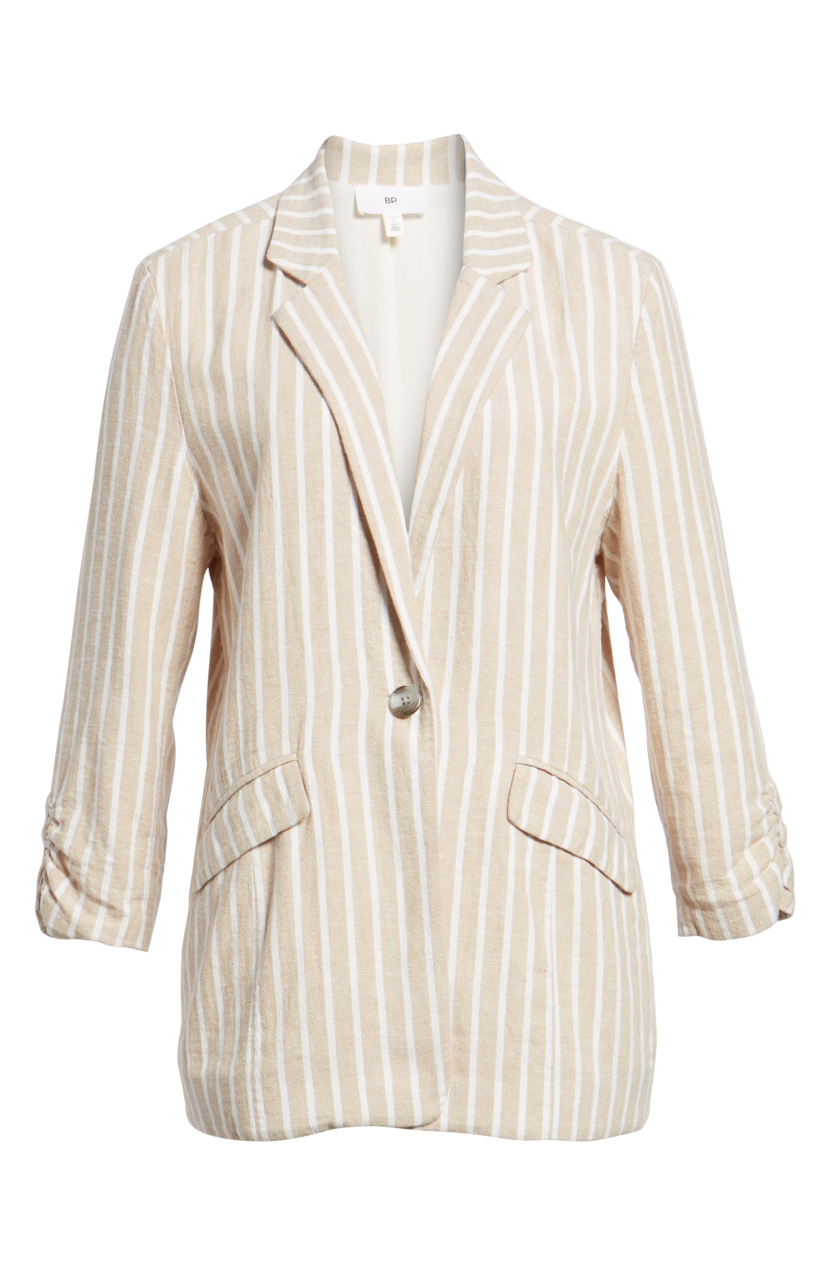 Cinch Sleeve Blazer,                             Alternate thumbnail 6, color,                             Tan Nomad Ella Linen Stripe