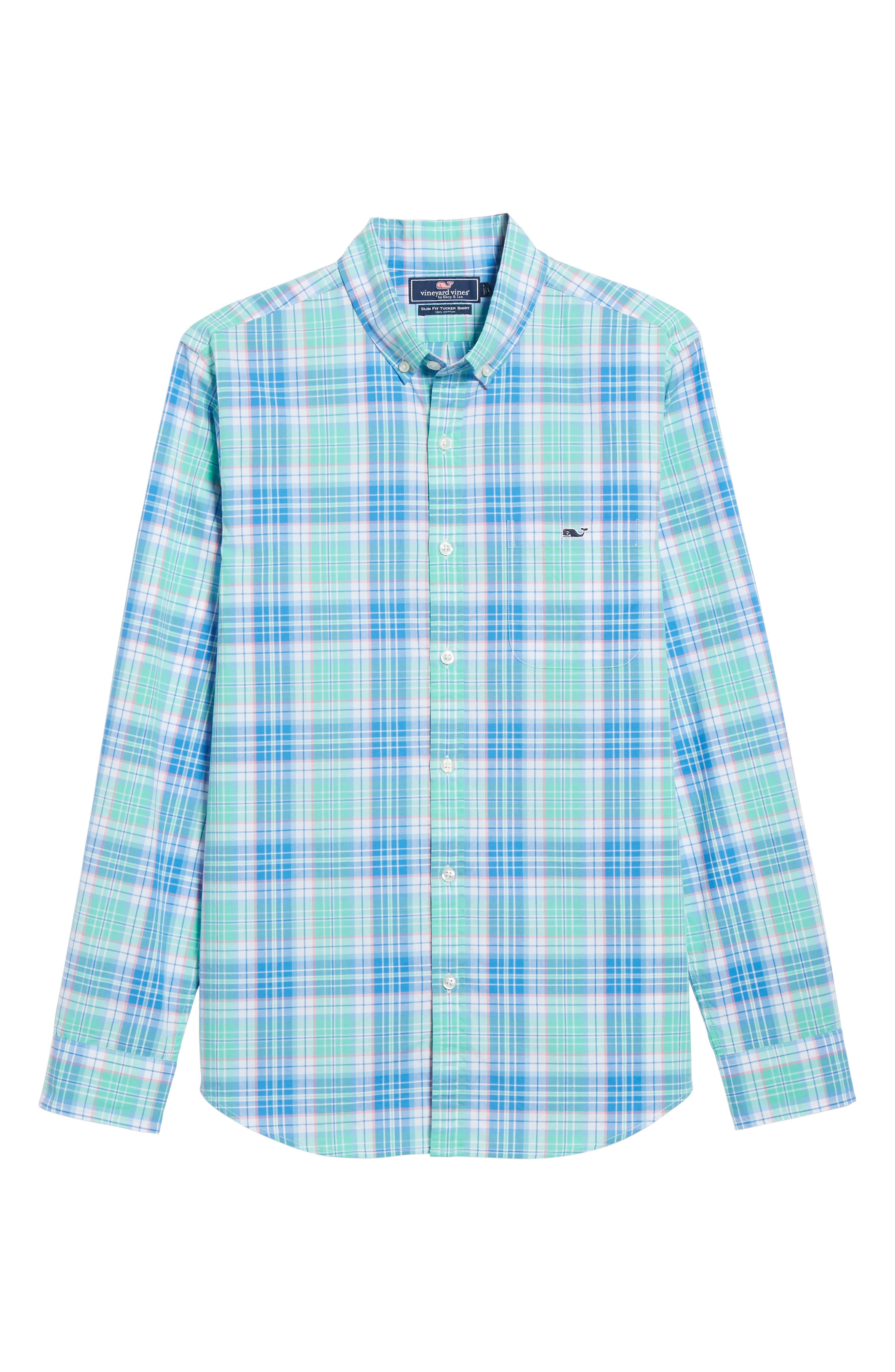 Sutherland Road Slim Fit Plaid Sport Shirt,                             Alternate thumbnail 6, color,                             Antigua Green