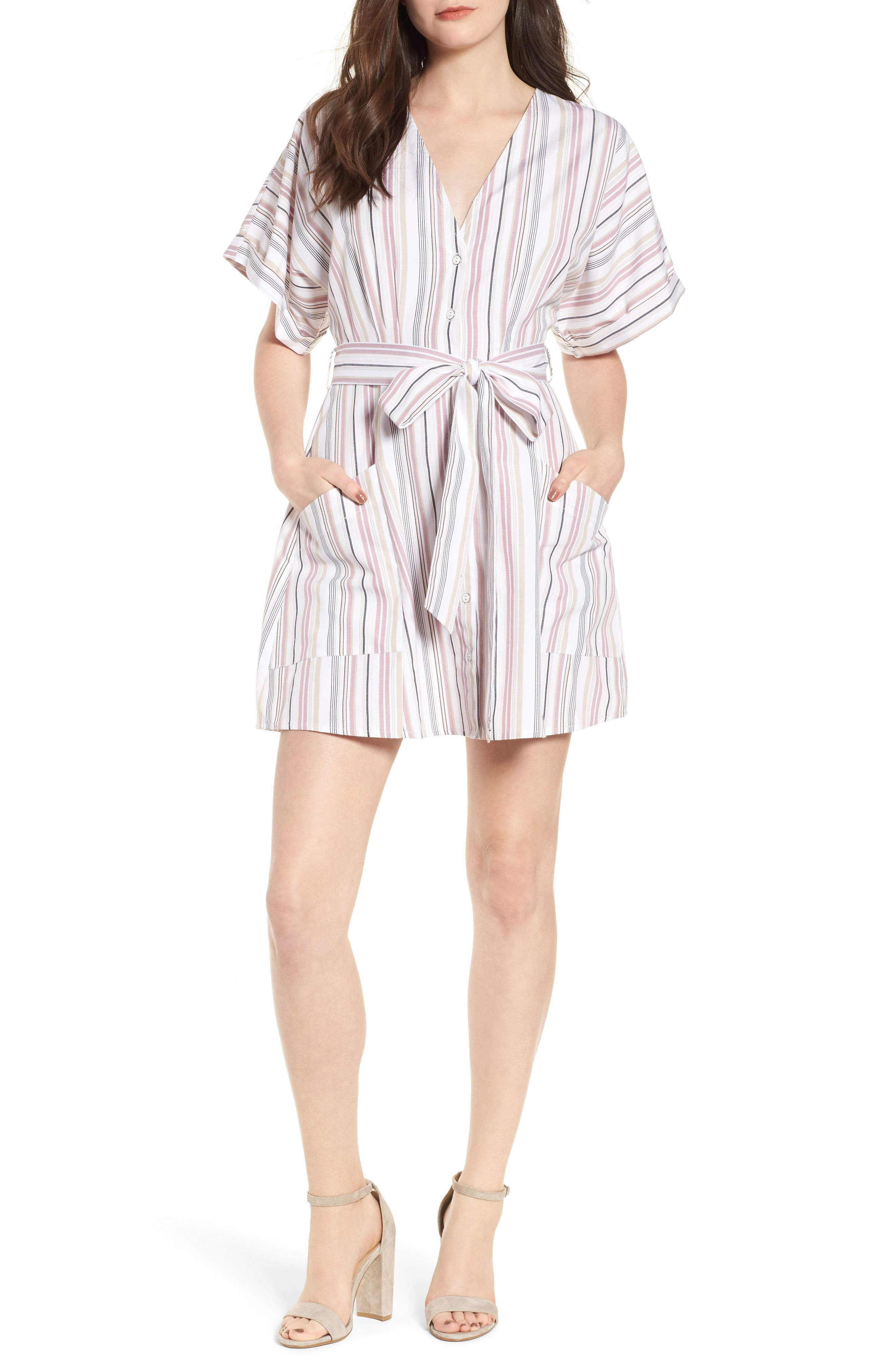 Button Front Dress,                             Main thumbnail 1, color,                             Pink Adobe Tracy Stripe