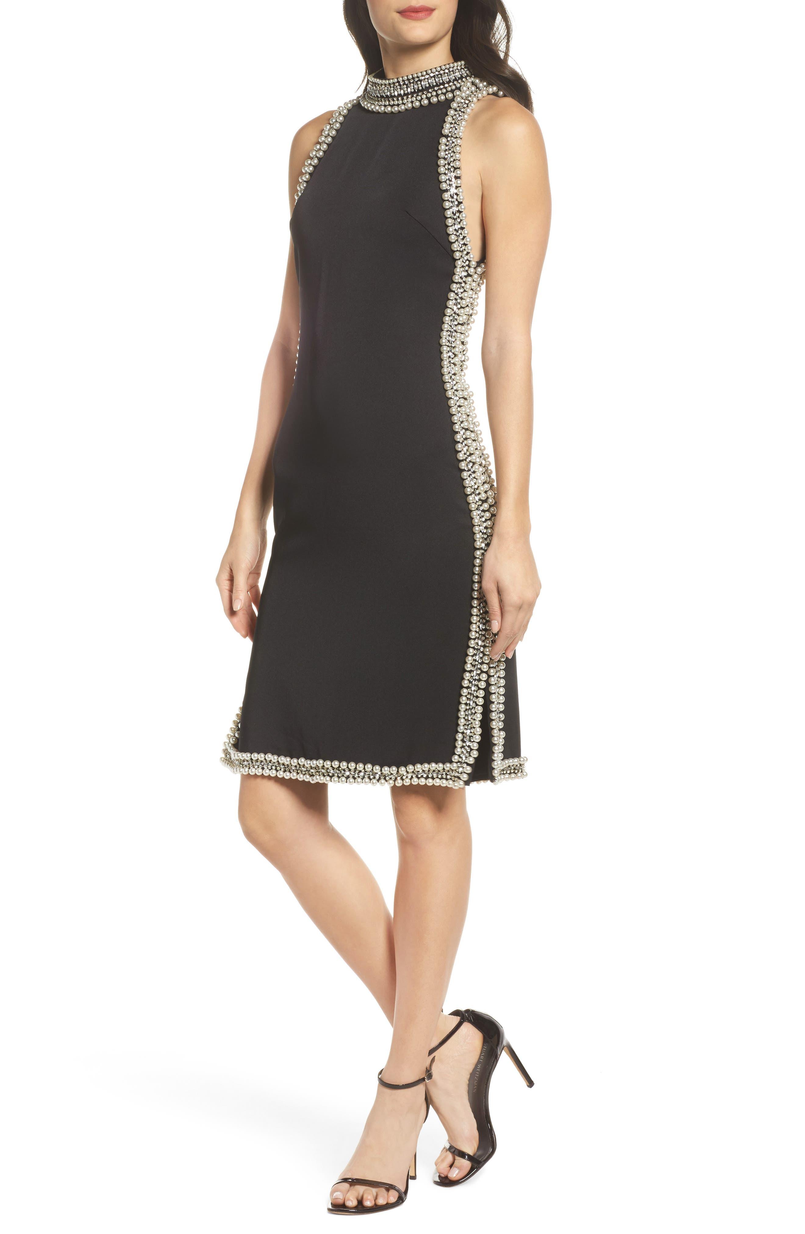 Embellished Trim Sheath Dress,                         Main,                         color, Black