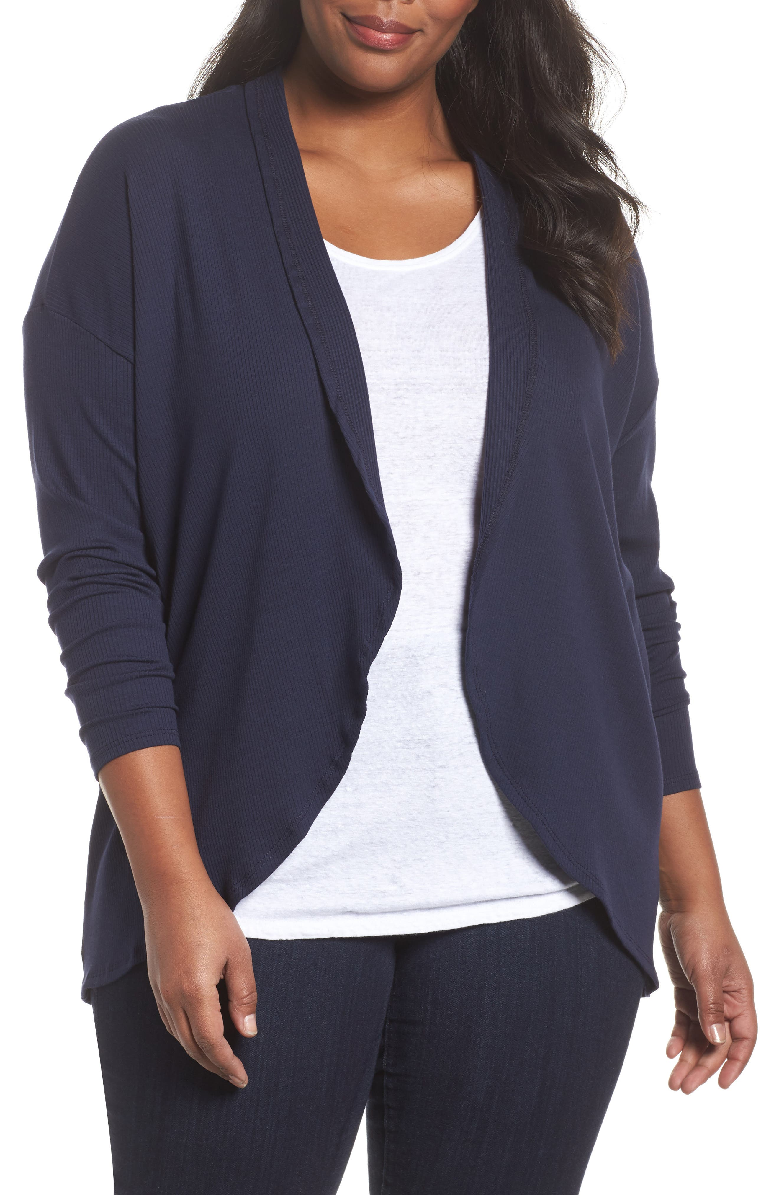 Ribbed Cocoon Cardigan,                         Main,                         color, Navy Peacoat