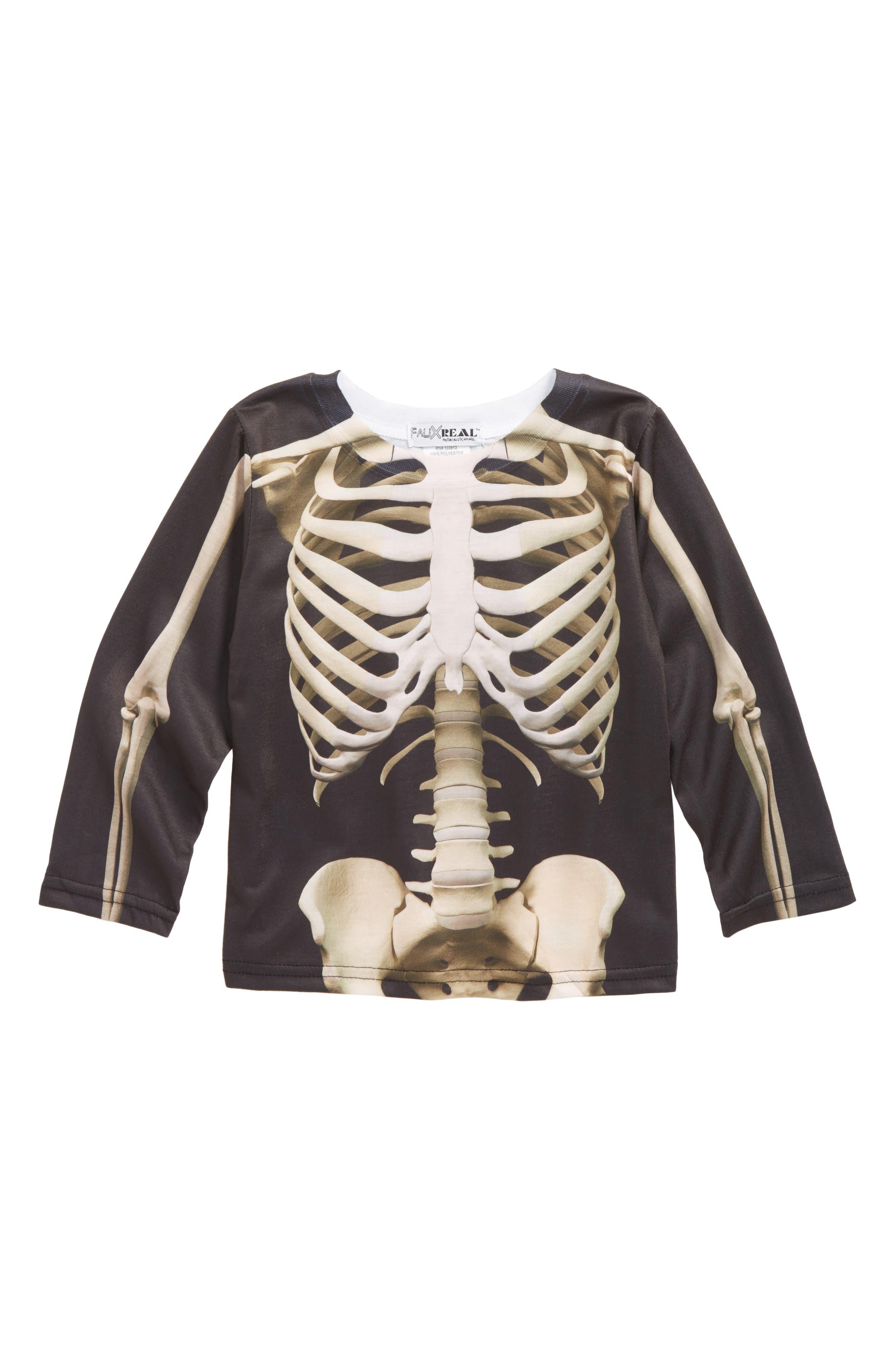 Alternate Image 1 Selected - Faux Real Skeleton Screenprint T-Shirt (Toddler Boys)