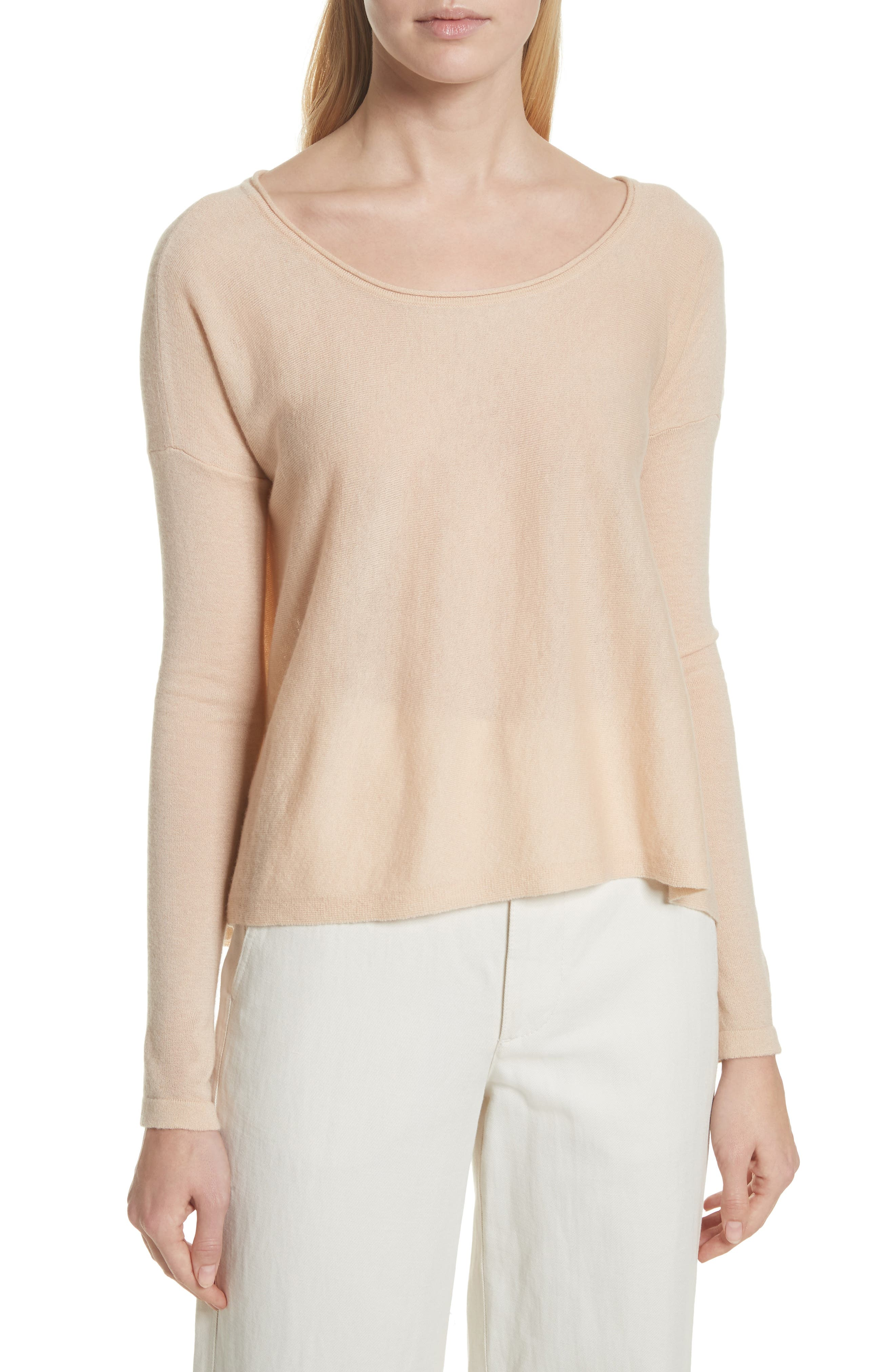 Cinched Back Cashmere Sweater,                             Main thumbnail 1, color,                             Praline