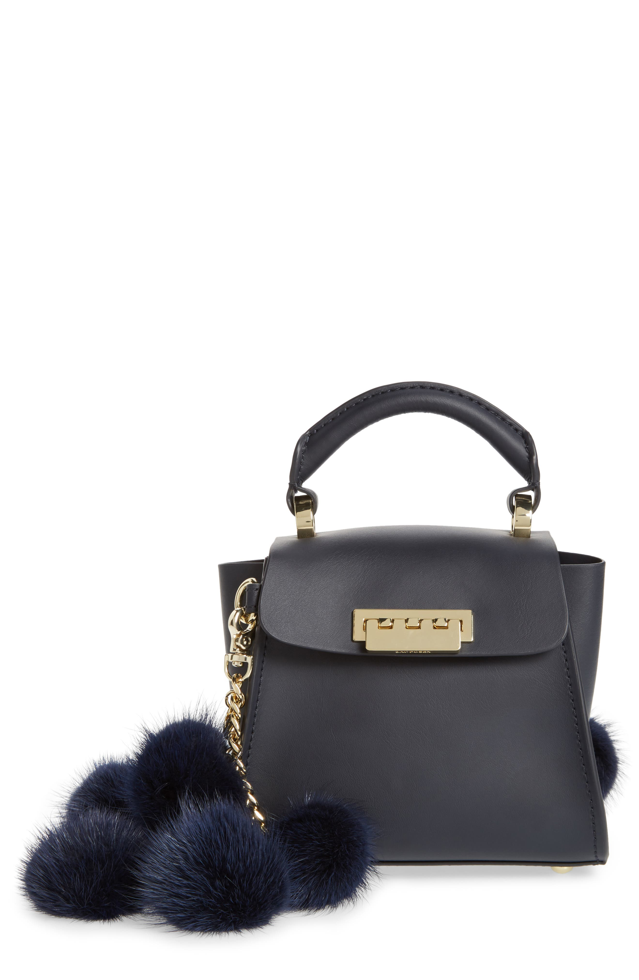 Eartha Iconic Leather Satchel with Genuine Mink Fur Strap,                         Main,                         color, Navy