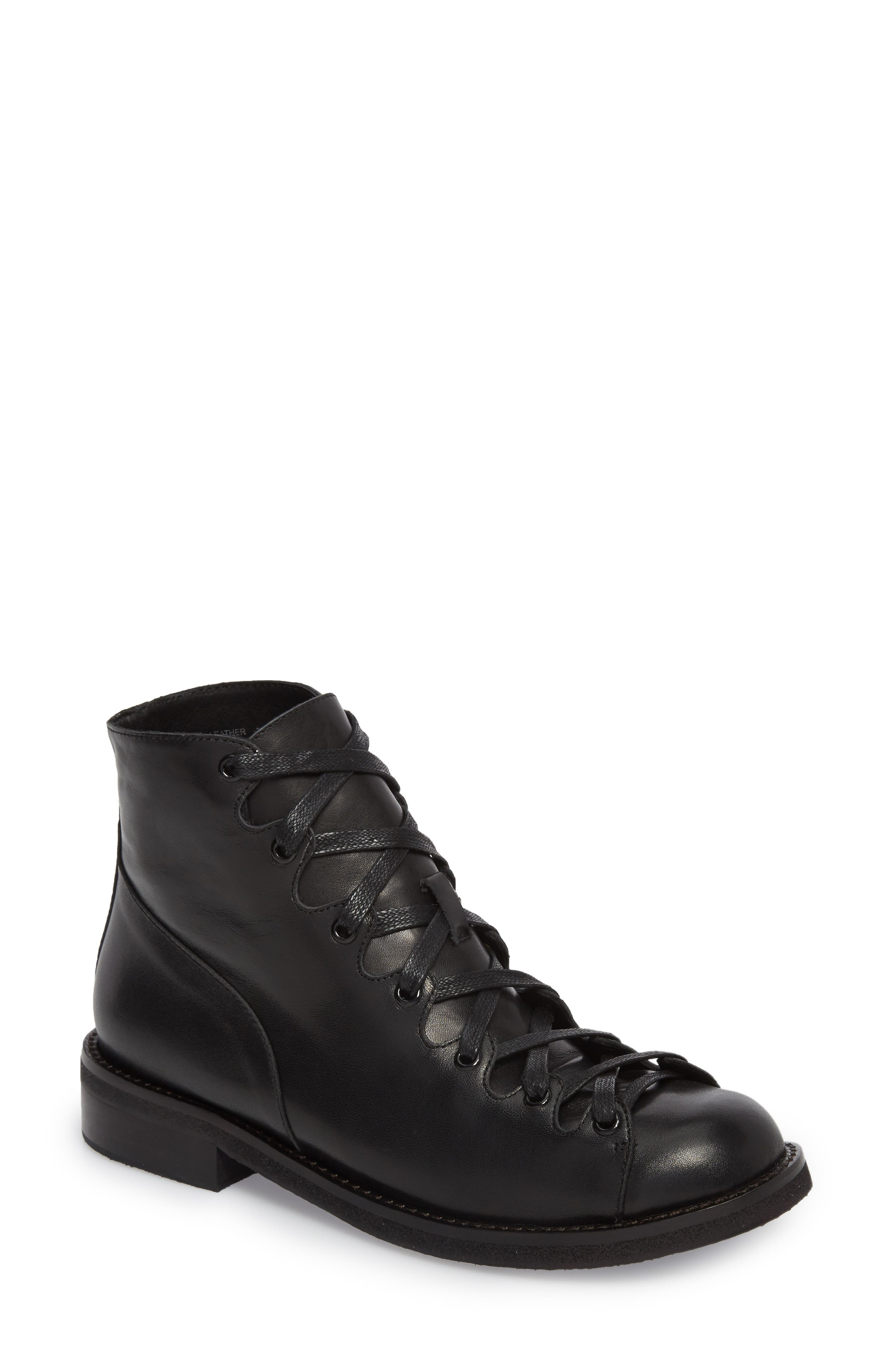 Jess Ghillie Combat Boot,                         Main,                         color, Black Leather