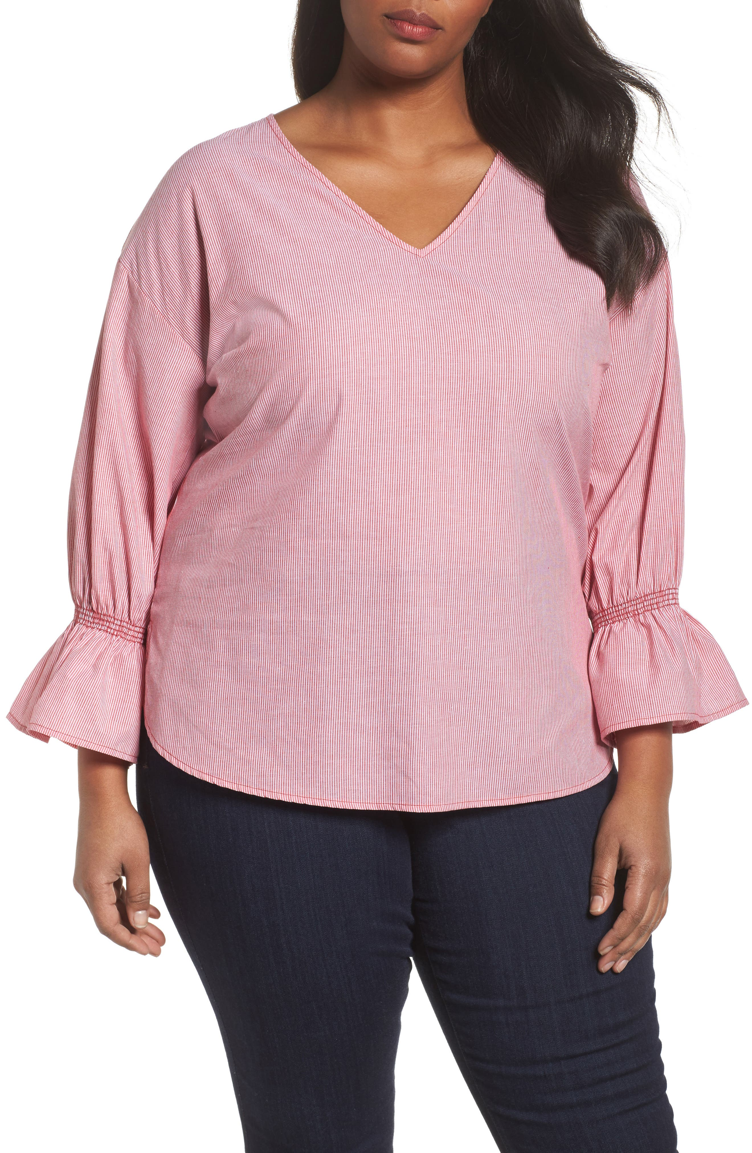 Sejour Pinstripe Bell Cuff Top (Plus Size)