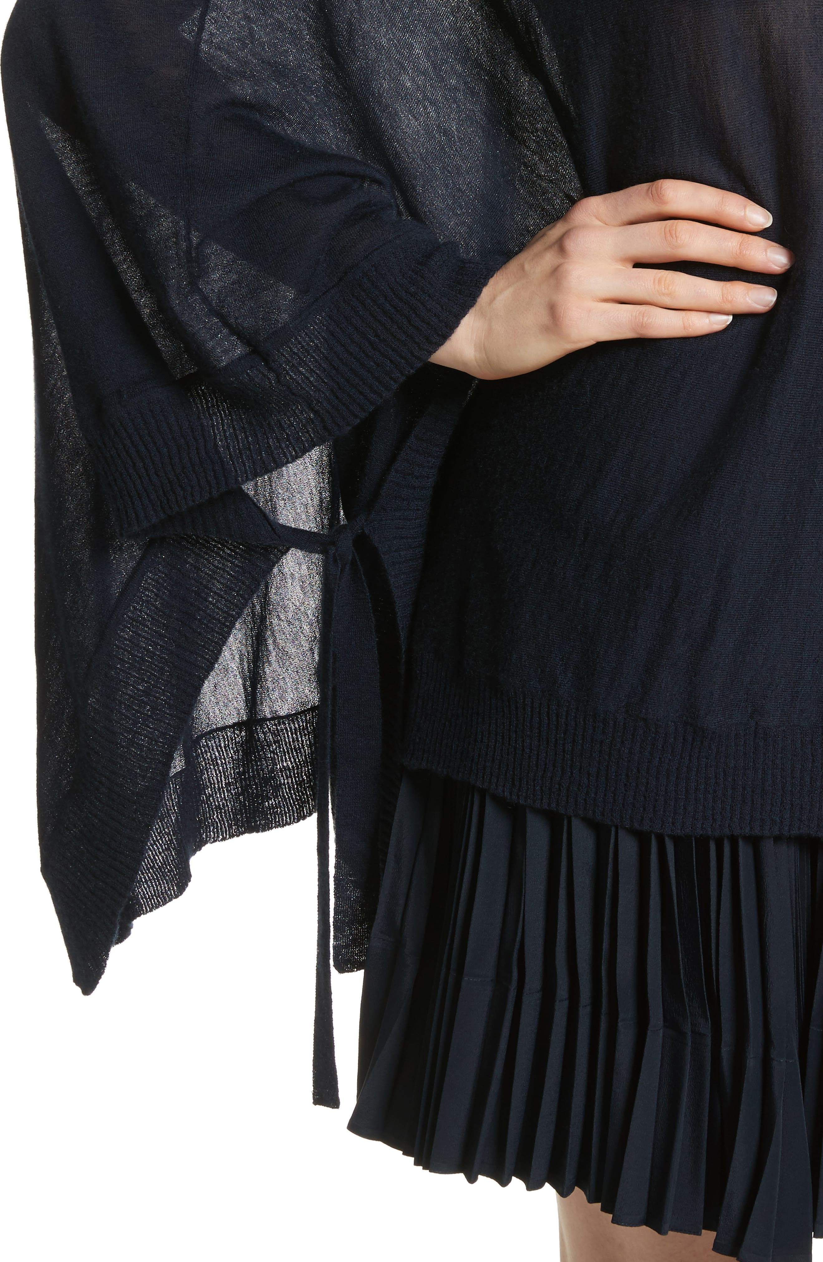 Hooded Wool & Cashmere Poncho,                             Alternate thumbnail 4, color,                             Coastal
