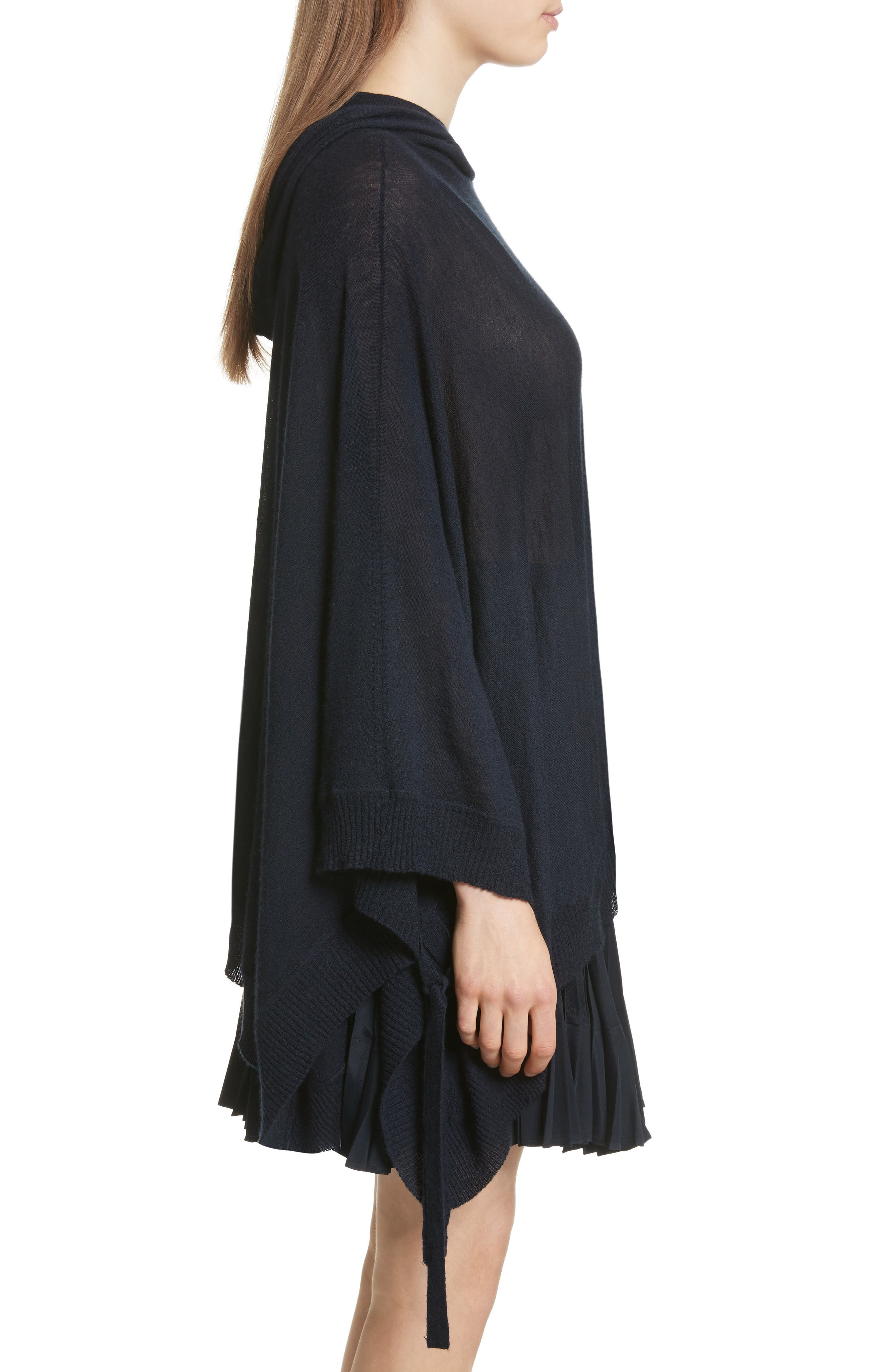 Hooded Wool & Cashmere Poncho,                             Alternate thumbnail 3, color,                             Coastal