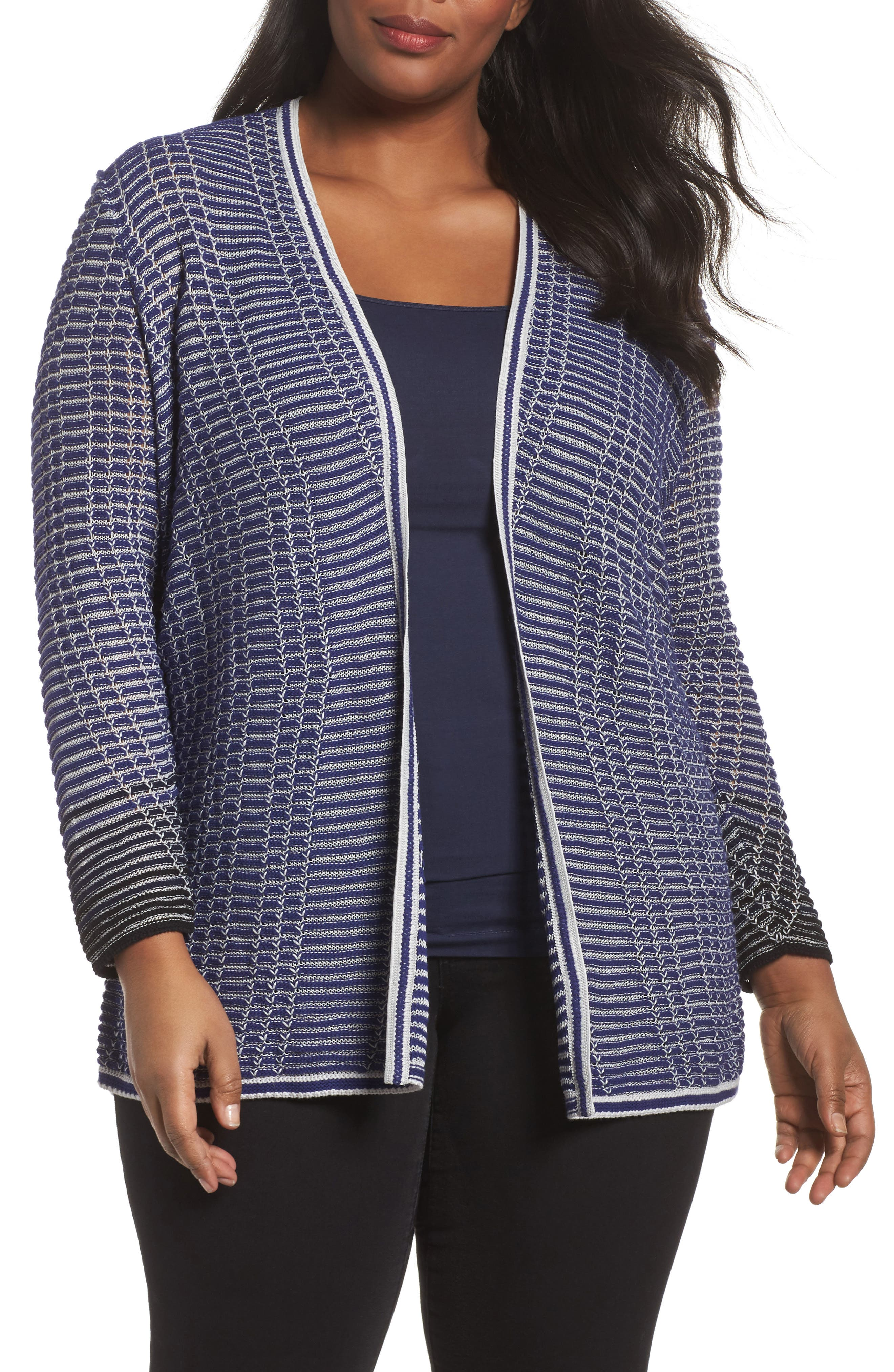 Main Image - NIC+ZOE Striped Space Cardigan (Plus Size)