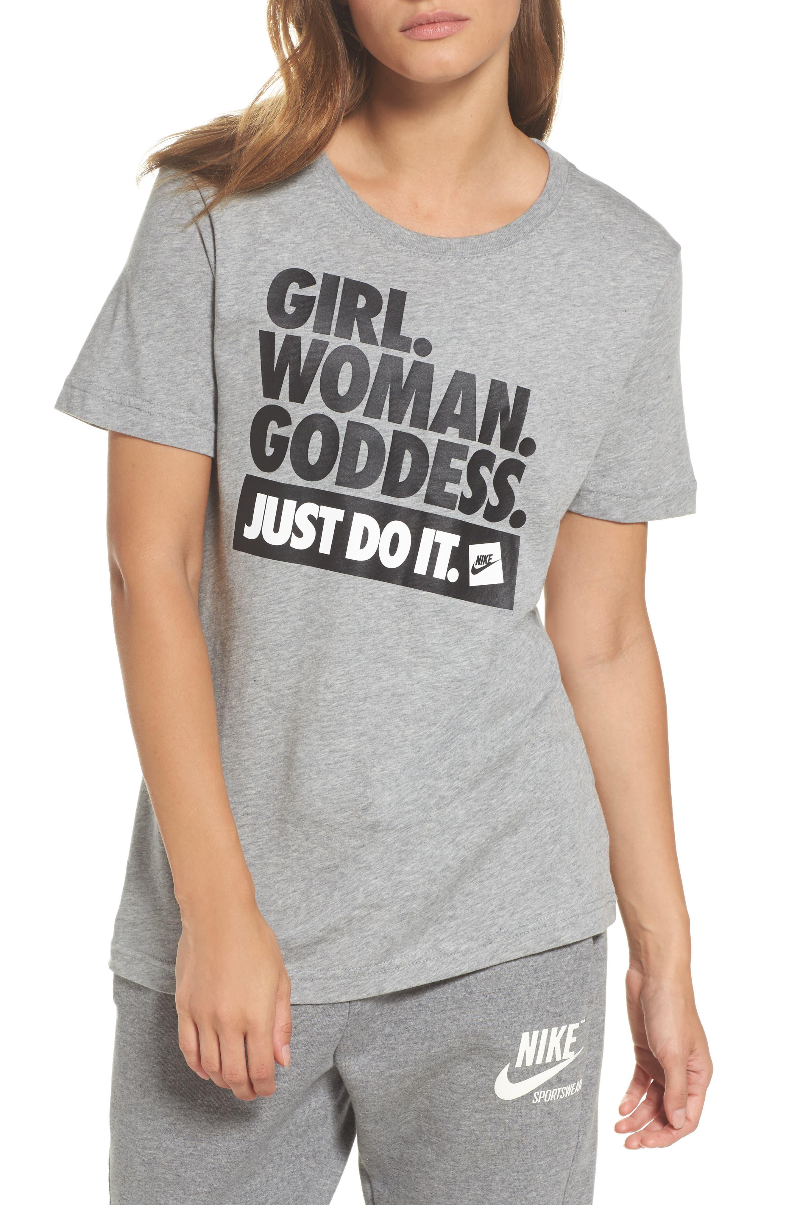 Sportswear Goddess Graphic Tee,                         Main,                         color, Dark Grey Heather/ Black