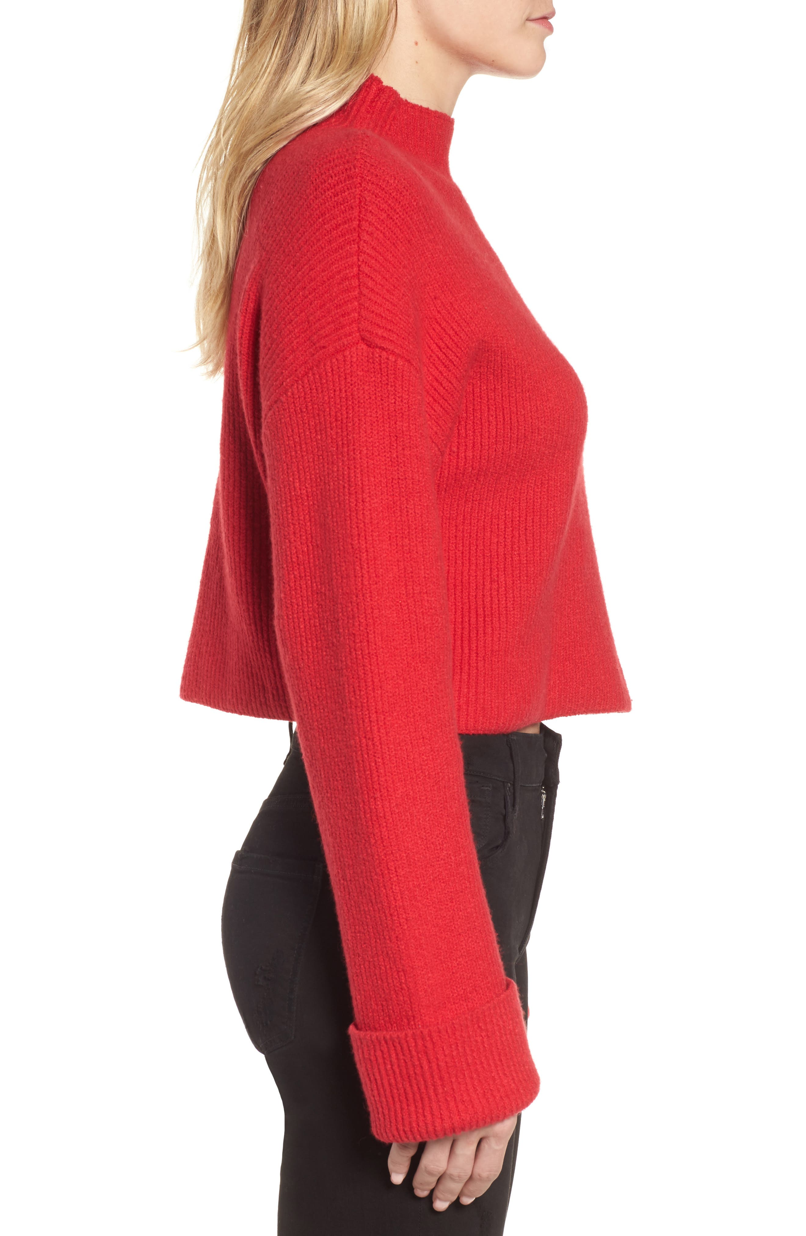 Wide Cuff Mock Neck Sweater,                             Alternate thumbnail 3, color,                             Patriot Red