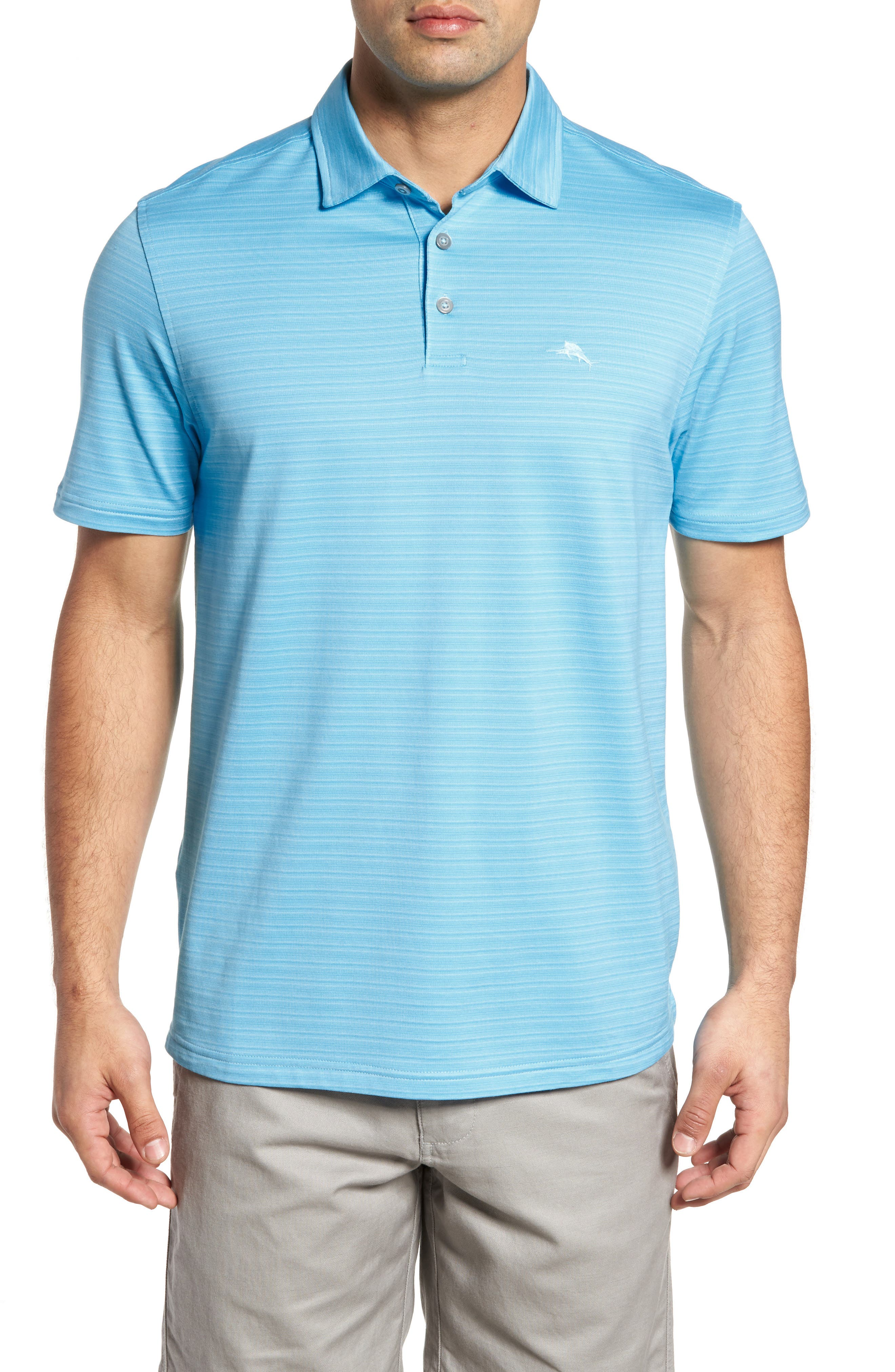 New On Par Stripe Polo,                         Main,                         color, Breeze Blue