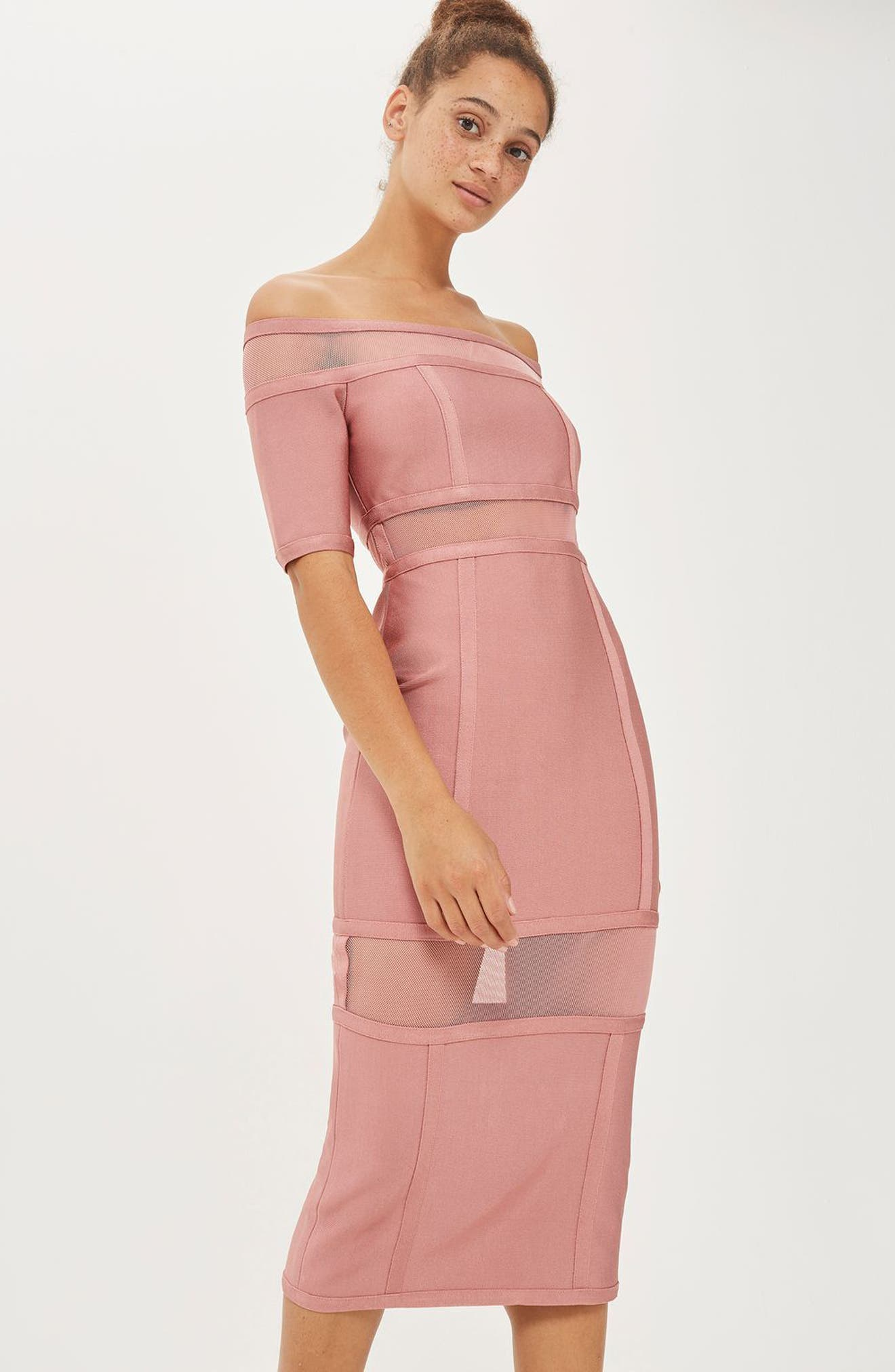 Sheer Panel Off the Shoulder Body-Con Midi Dress,                             Alternate thumbnail 4, color,                             Pink