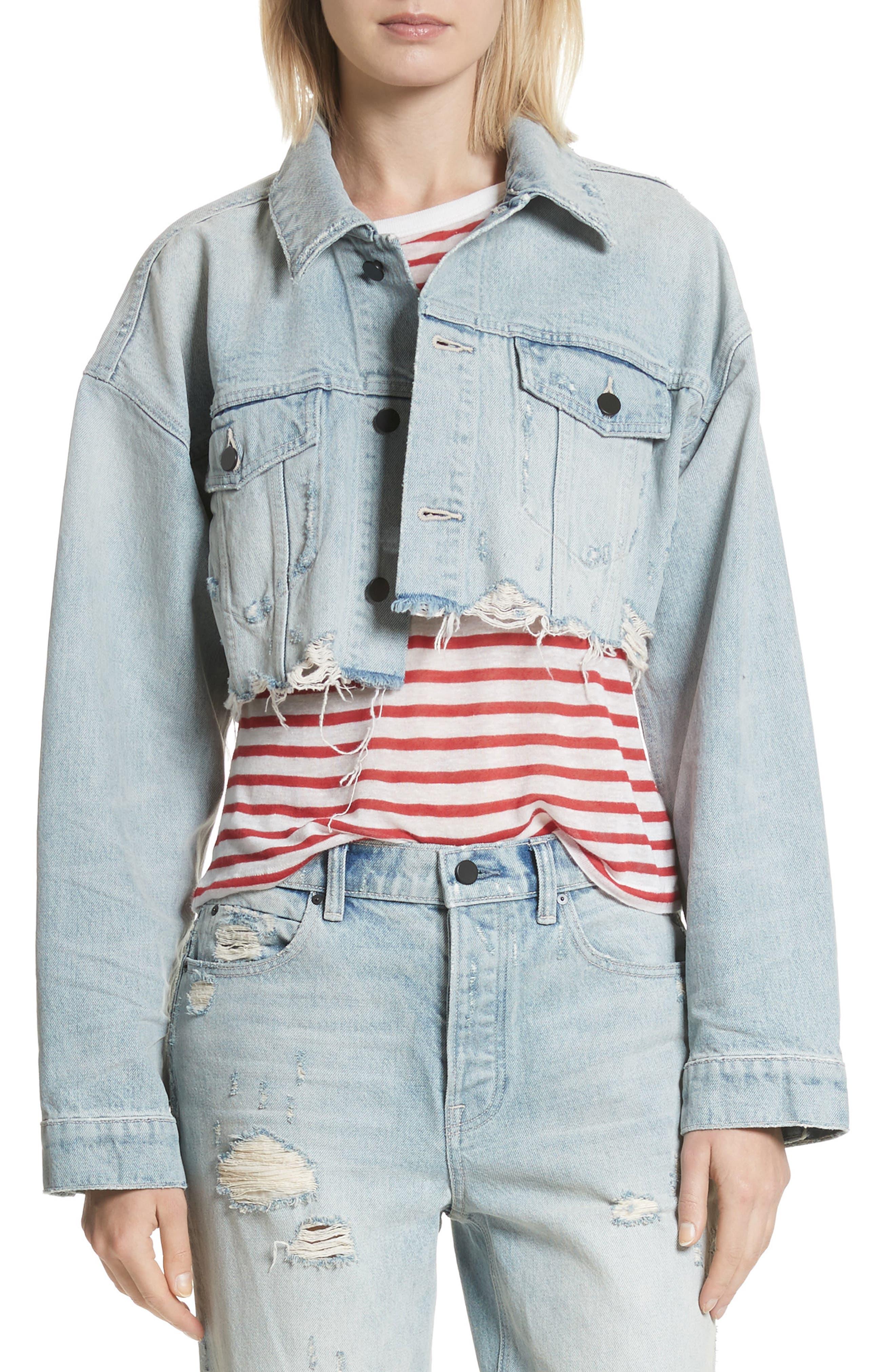 Alexander Wang Blaze Crop Denim Jacket,                         Main,                         color, Vintage Bleach