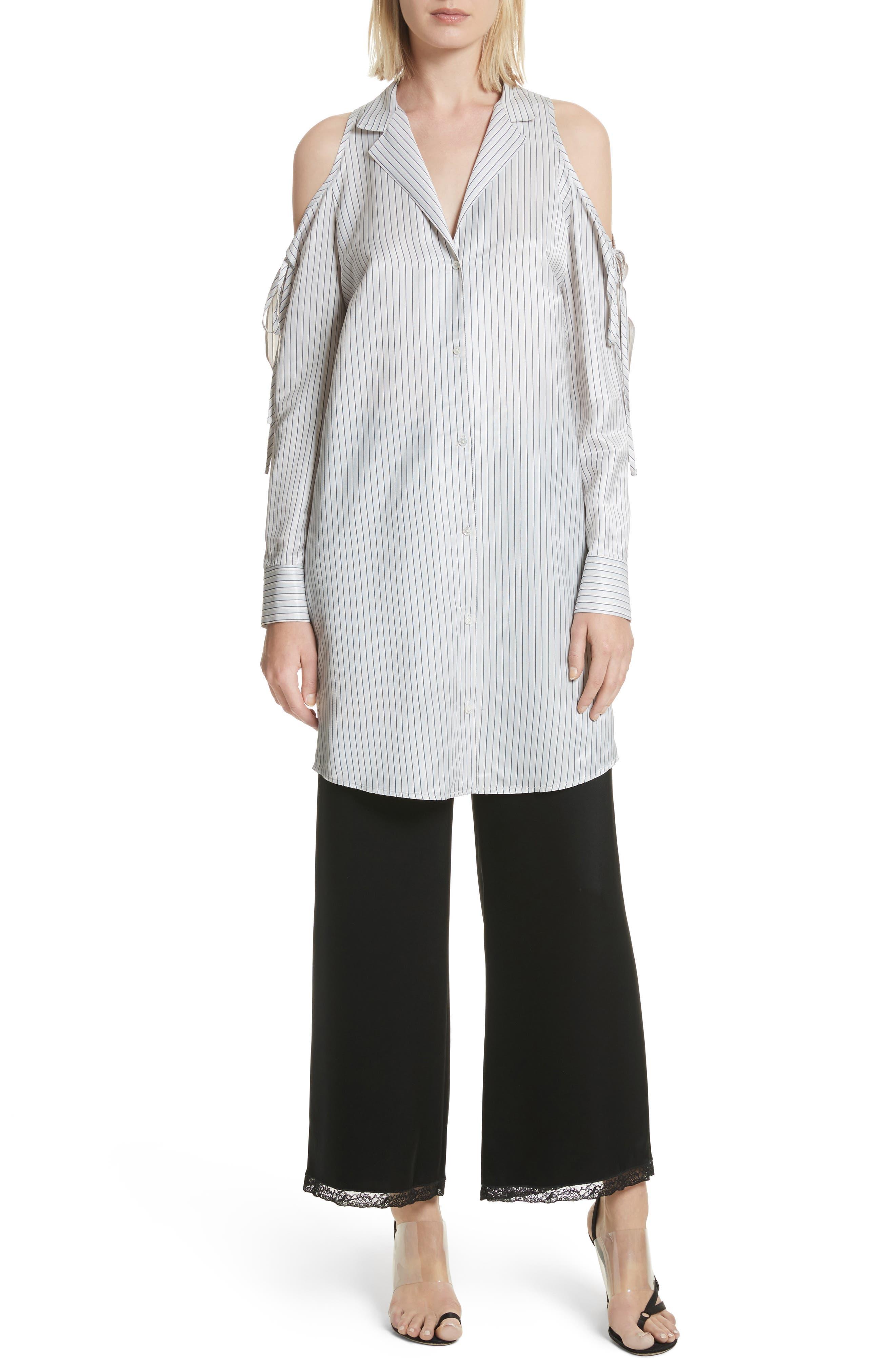 Stripe Cold Shoulder Satin Tunic,                         Main,                         color, Blue/ Silver Stripe