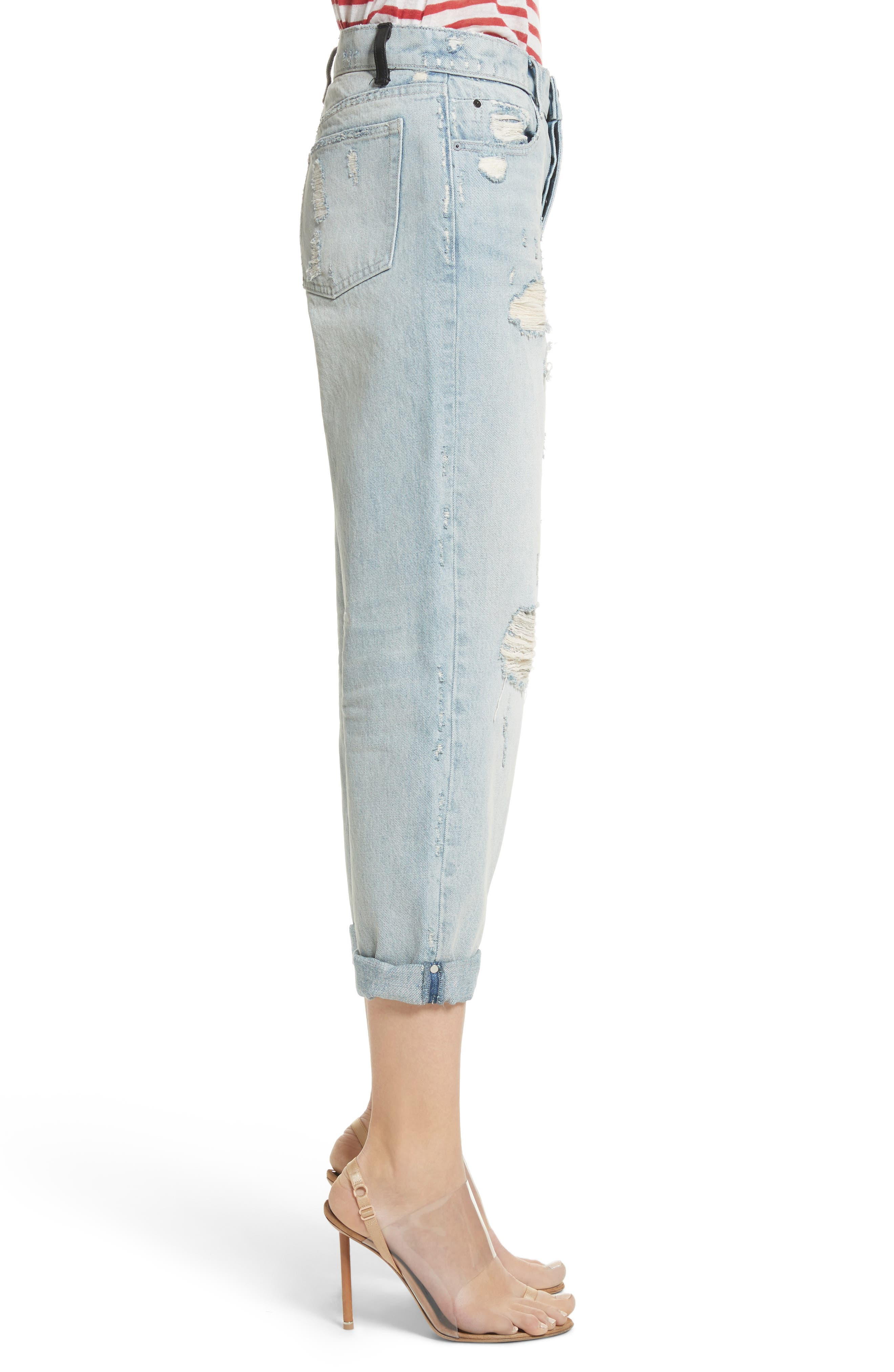 Distressed Boyfriend Jeans,                             Alternate thumbnail 3, color,                             Vintage Bleach