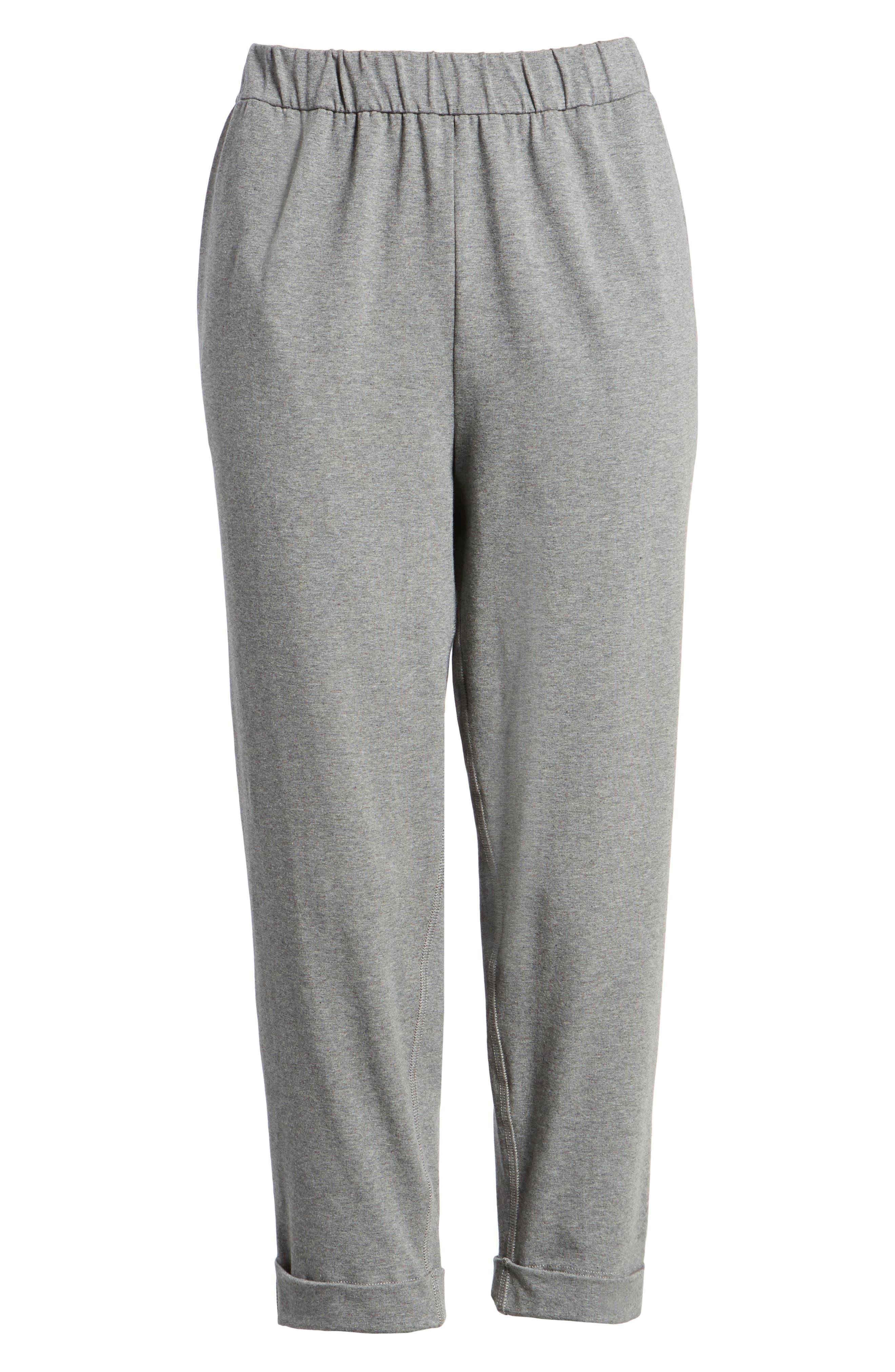 Organic Cotton Jersey Crop Pants,                             Alternate thumbnail 7, color,                             Grey